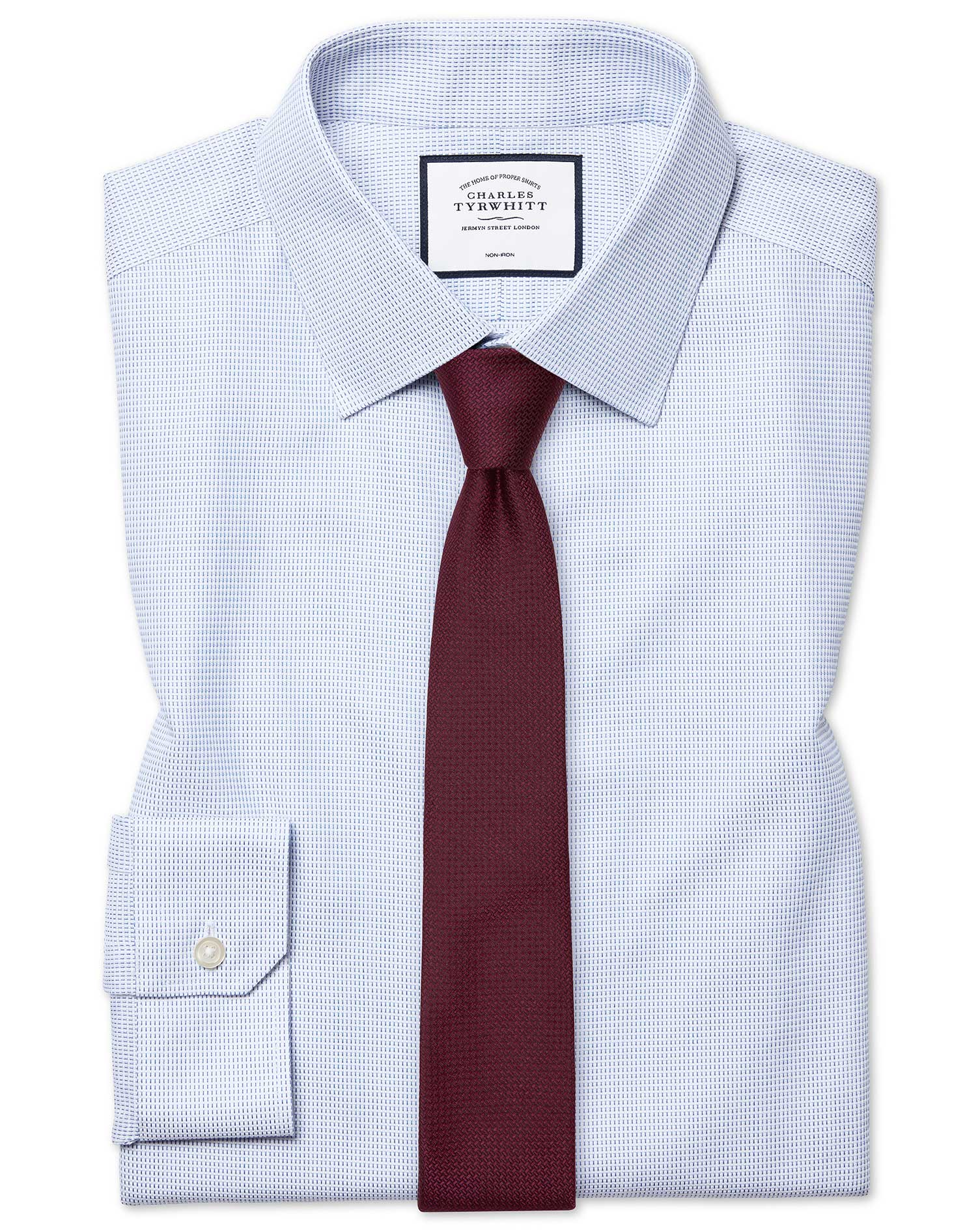 Cotton Super Slim Fit Non-Iron Dash Weave Blue Shirt