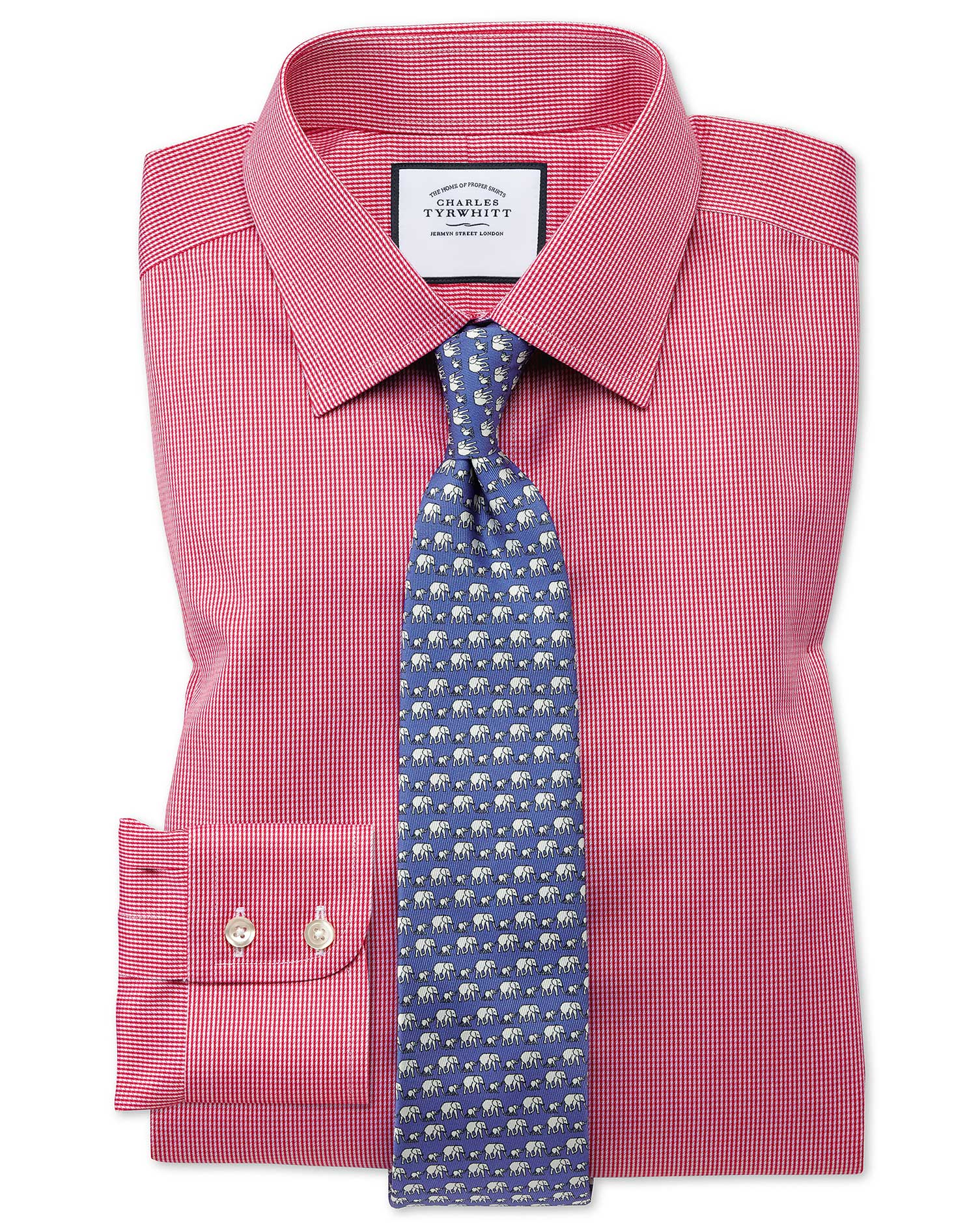 Classic Fit Non-Iron Puppytooth Bright Pink Cotton Formal Shirt Single Cuff Size 16/35 by Charles Ty
