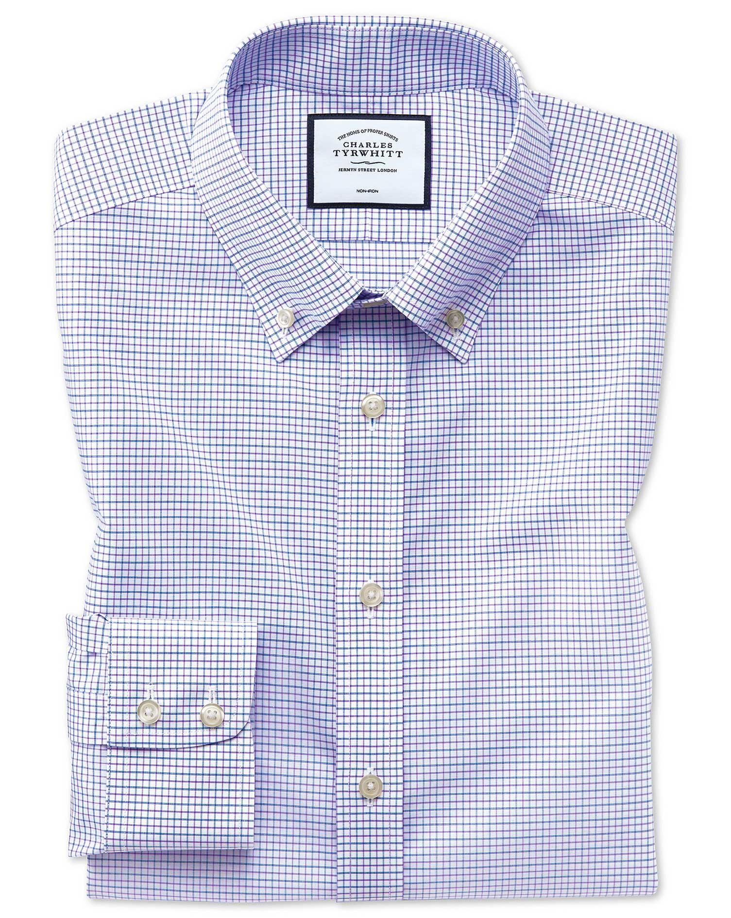 Slim Fit Non-Iron Button-Down Lilac and Blue Check Cotton Formal Shirt Single Cuff Size 14.5/33 by C
