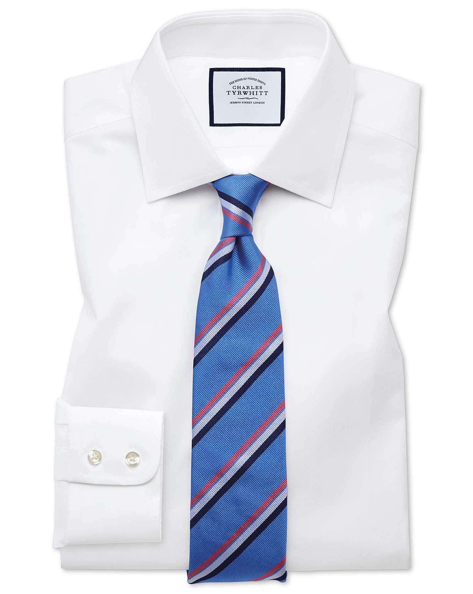 Slim Fit White Fine Herringbone Cotton Formal Shirt Single Cuff Size 16.5/35 by Charles Tyrwhitt