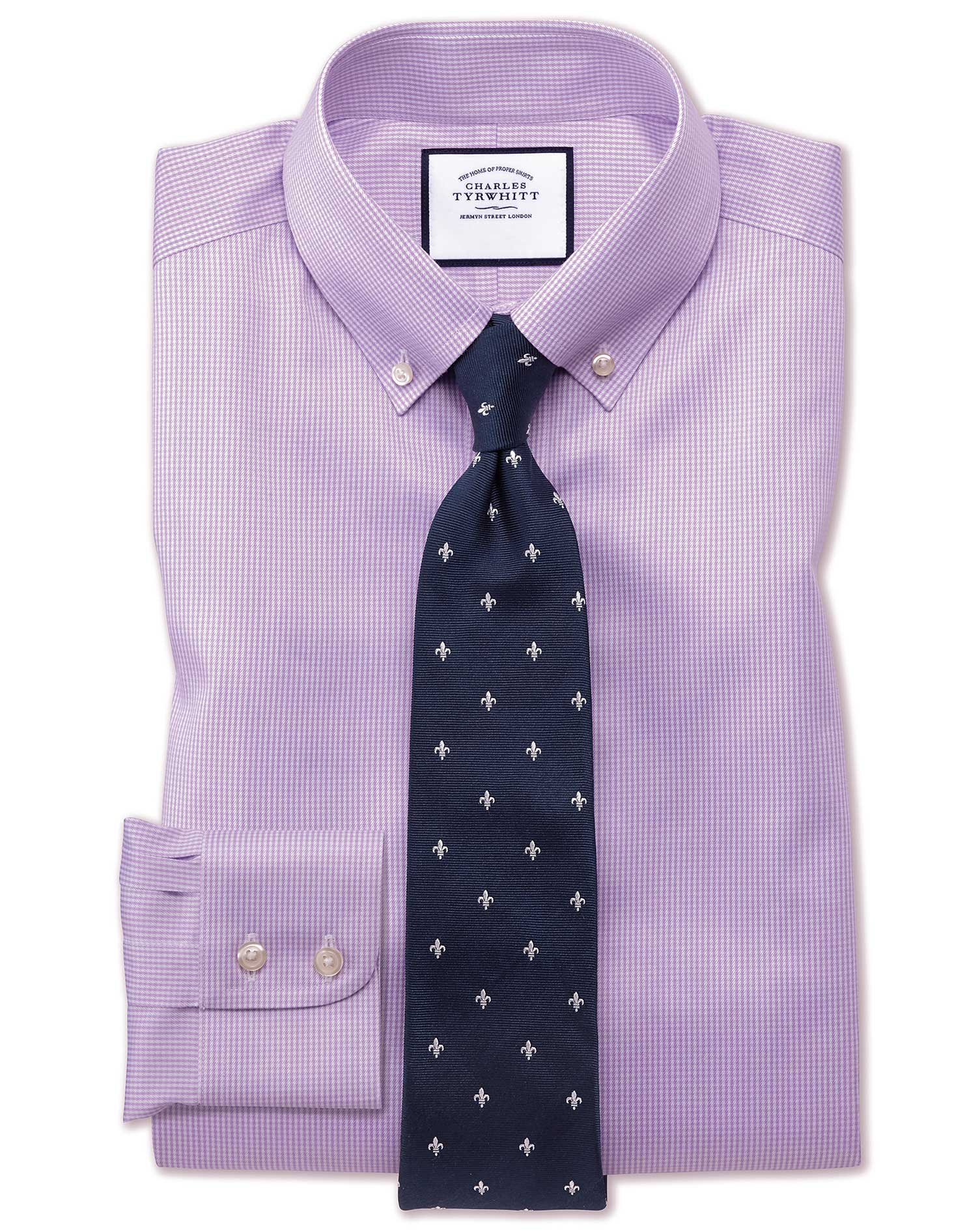 Slim Fit Button-Down Non-Iron Twill Puppytooth Lilac Cotton Formal Shirt Single Cuff Size 15.5/37 by