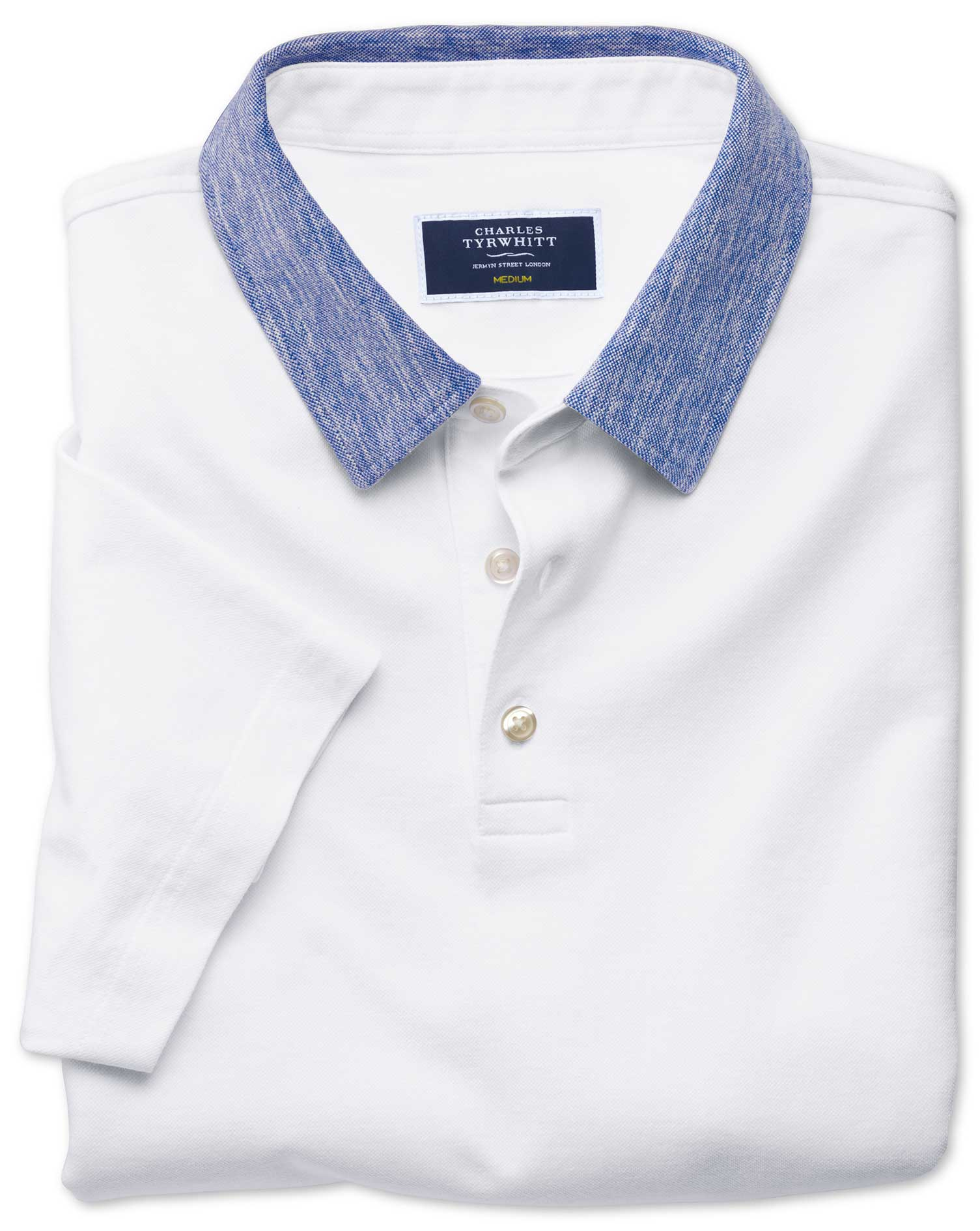 White Cotton Linen Polo Size XXXL by Charles Tyrwhitt