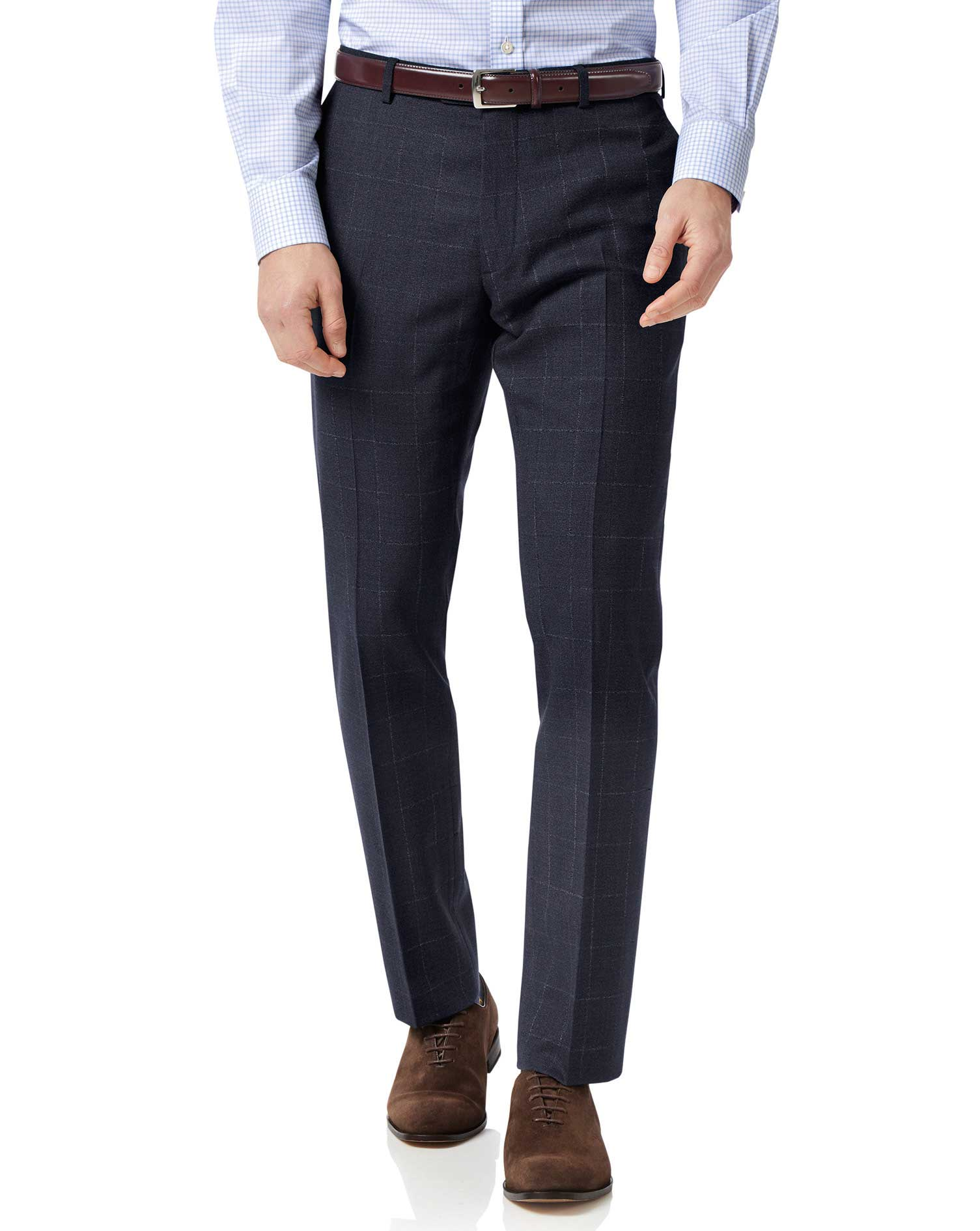 Blue slim fit jaspe check business suit trousers