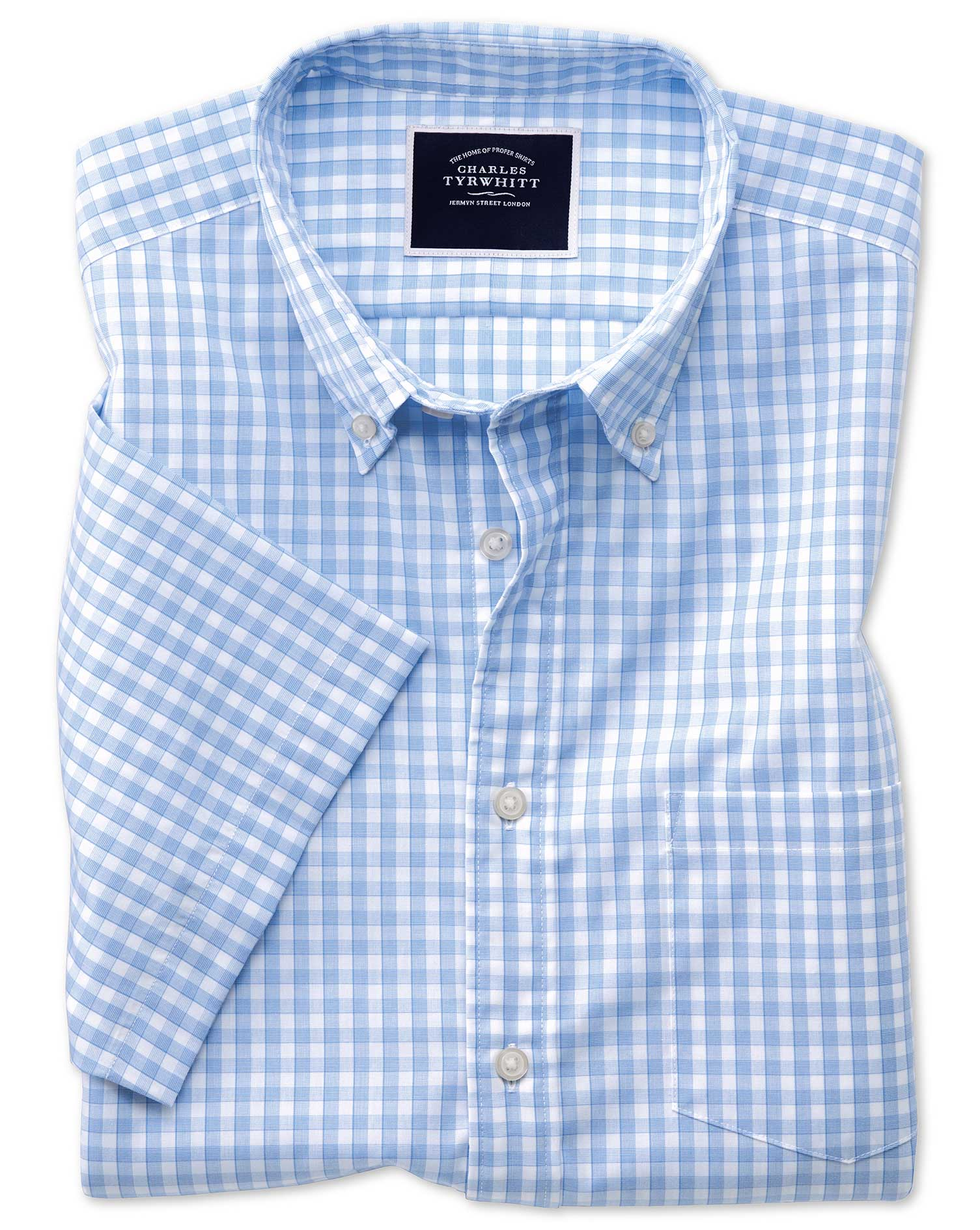 Slim Fit Sky Short Sleeve Gingham Soft Washed Non-Iron Tyrwhitt Cool Cotton Shirt Single Cuff Size L