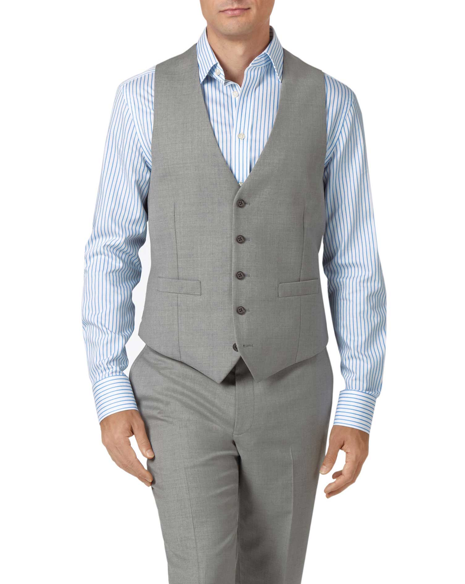 Light grey adjustable fit twill business suit vest