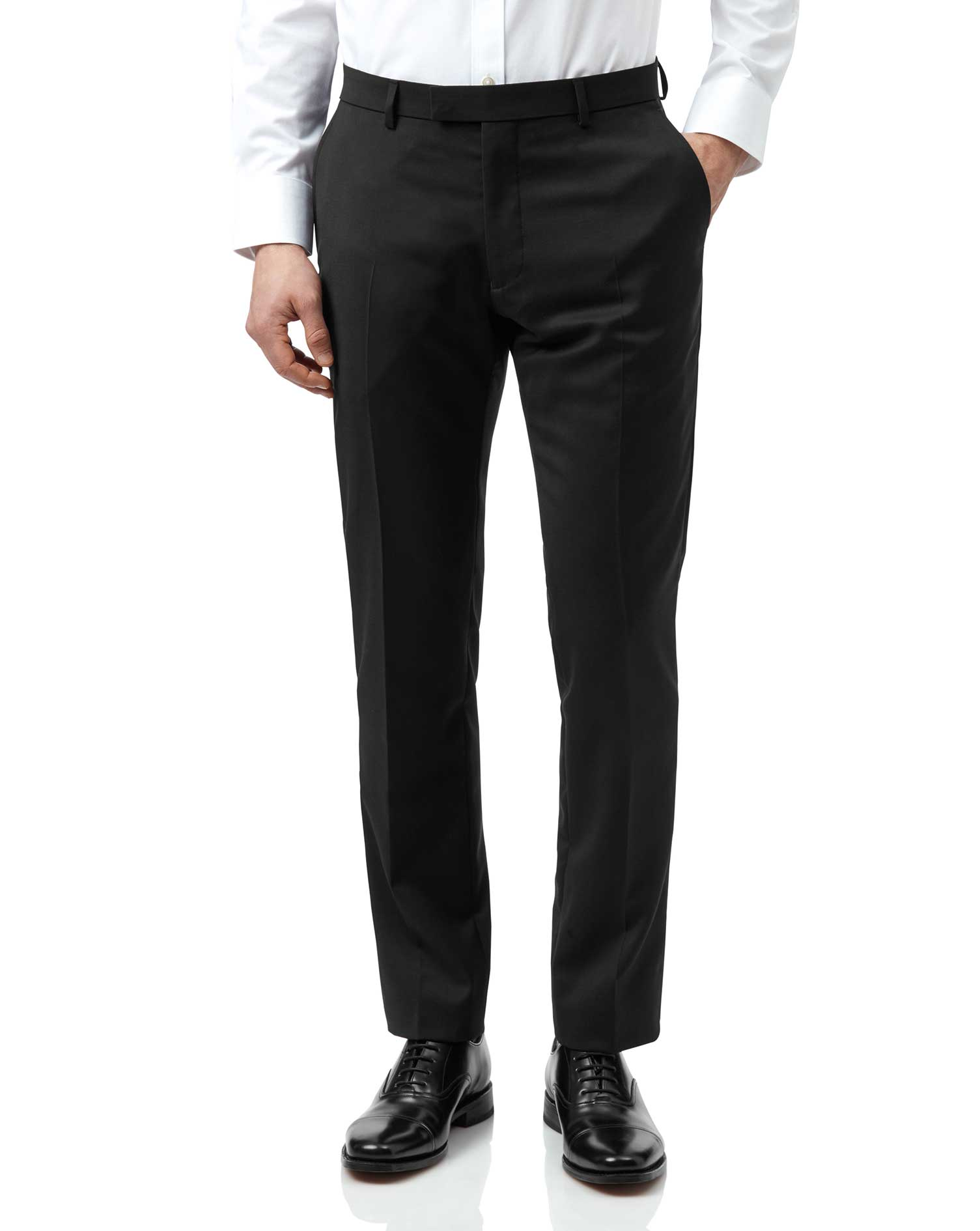 Image of Charles Tyrwhitt Black Extra Slim Fit Italian Natural Stretch Suit Trousers Size W76 L81 by Charles Tyrwhitt