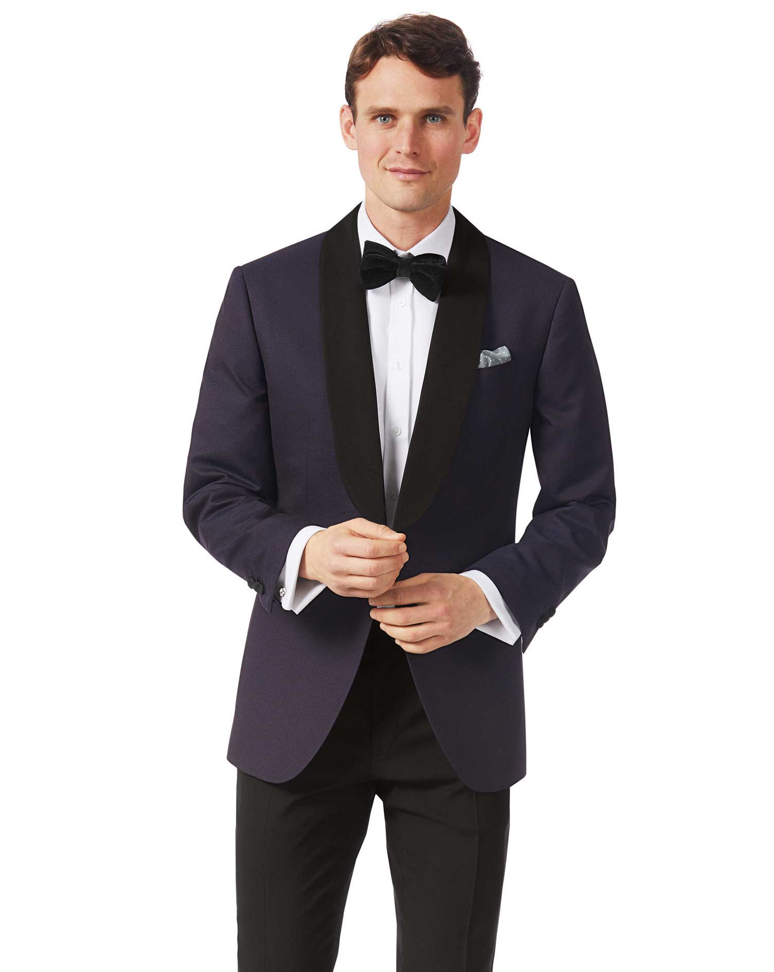Aubergine slim fit dinner suit jacket