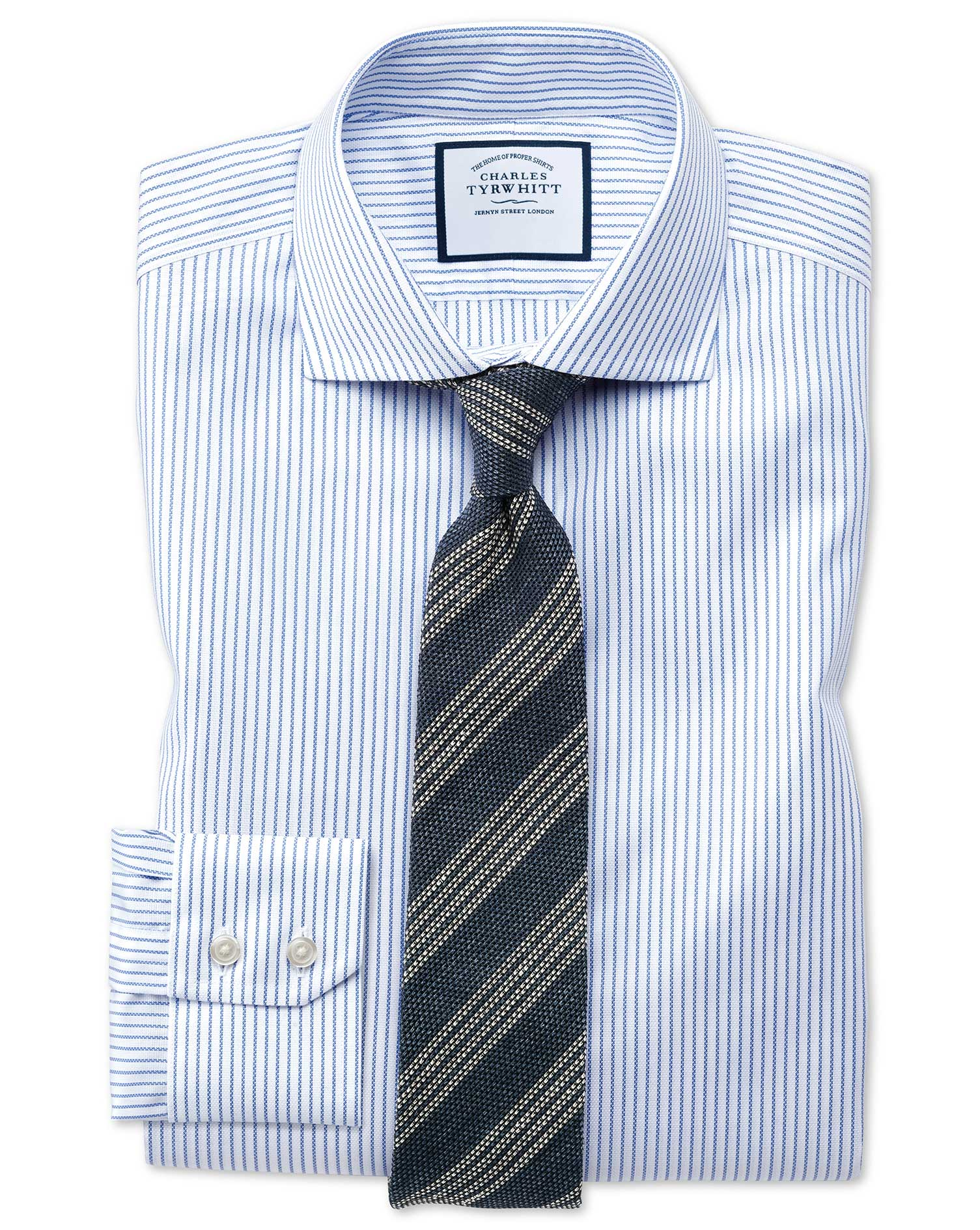 Slim Fit Cutaway Collar Non-Iron Cotton Stretch Oxford Stripe Blue and White Formal Shirt Single Cuf