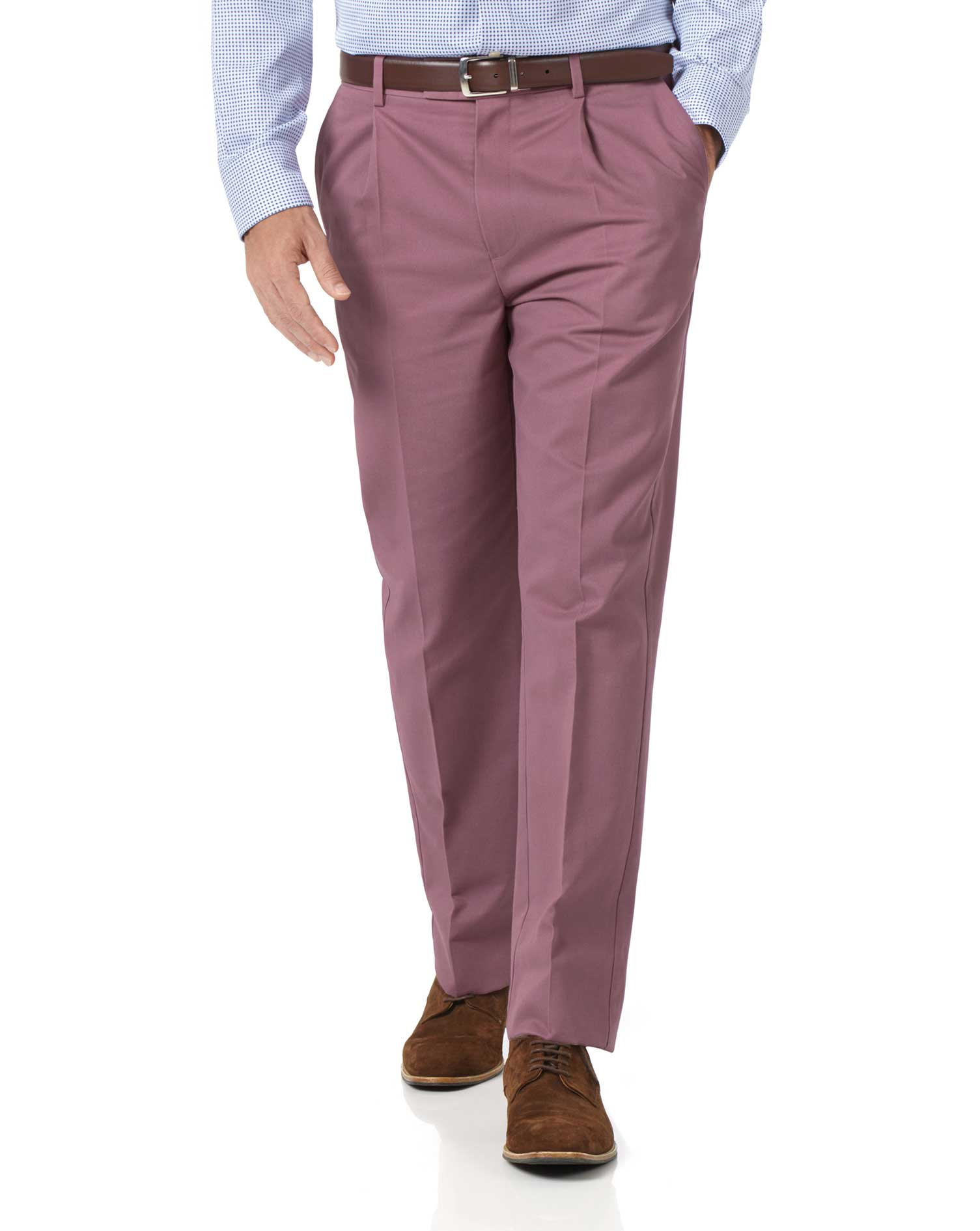 Light Pink Classic Fit Single Pleat Non-Iron Cotton Chino Trousers Size W38 L38 by Charles Tyrwhitt