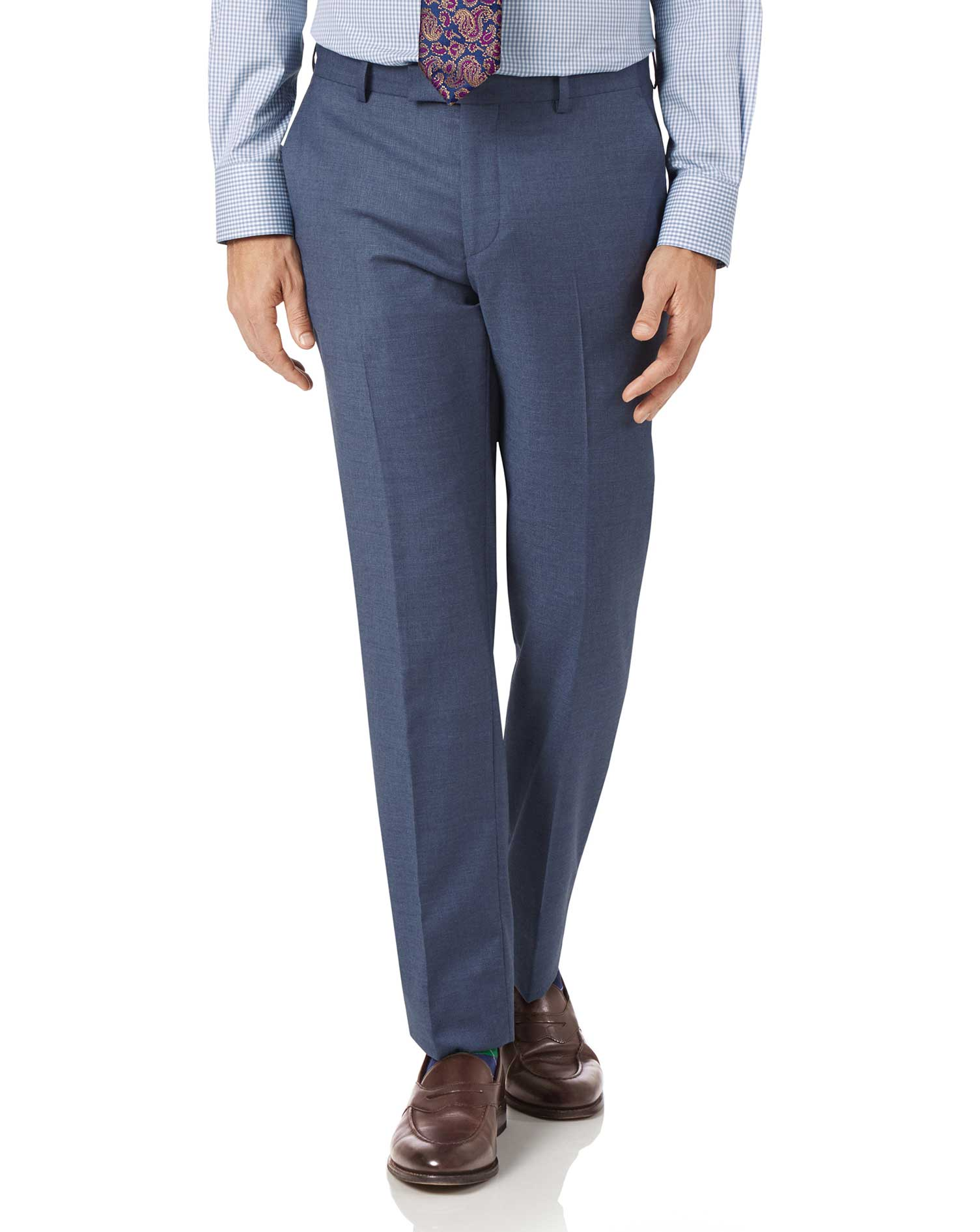 Airforce blue slim fit cross hatch weave italian suit trousers