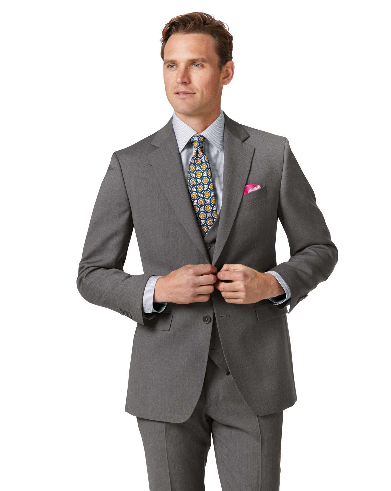 Light Grey Slim Fit Herringbone Business Suit Wool Jacket Size 42 Short by Charles Tyrwhitt