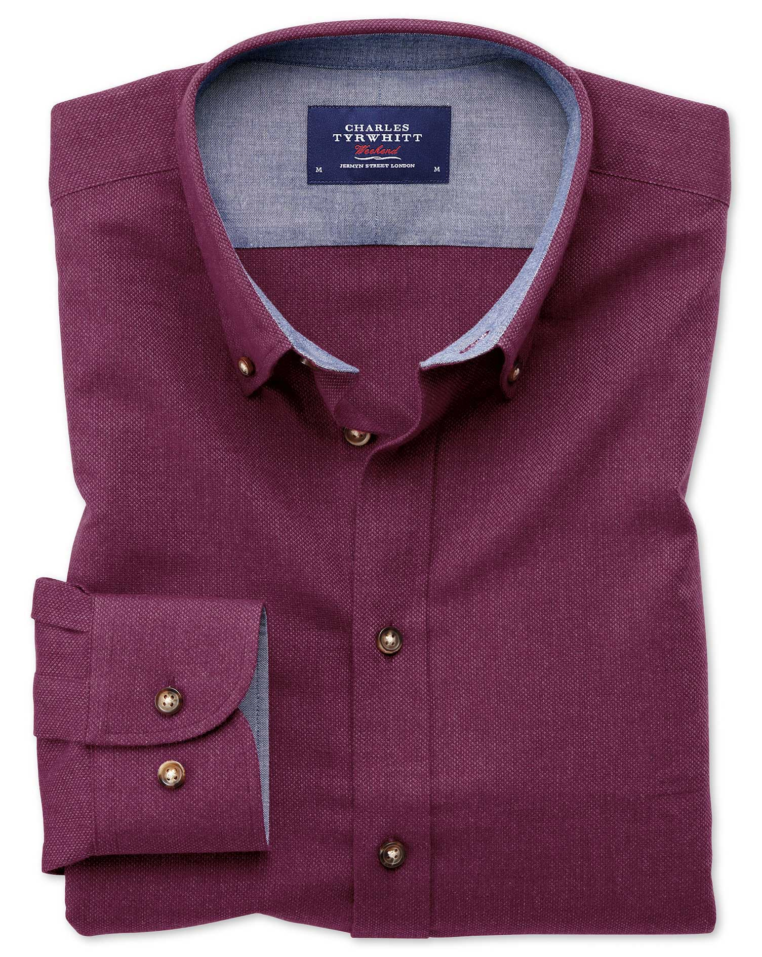 Slim Fit Button-Down Soft Cotton Plain Berry Shirt Single Cuff Size XS by Charles Tyrwhitt