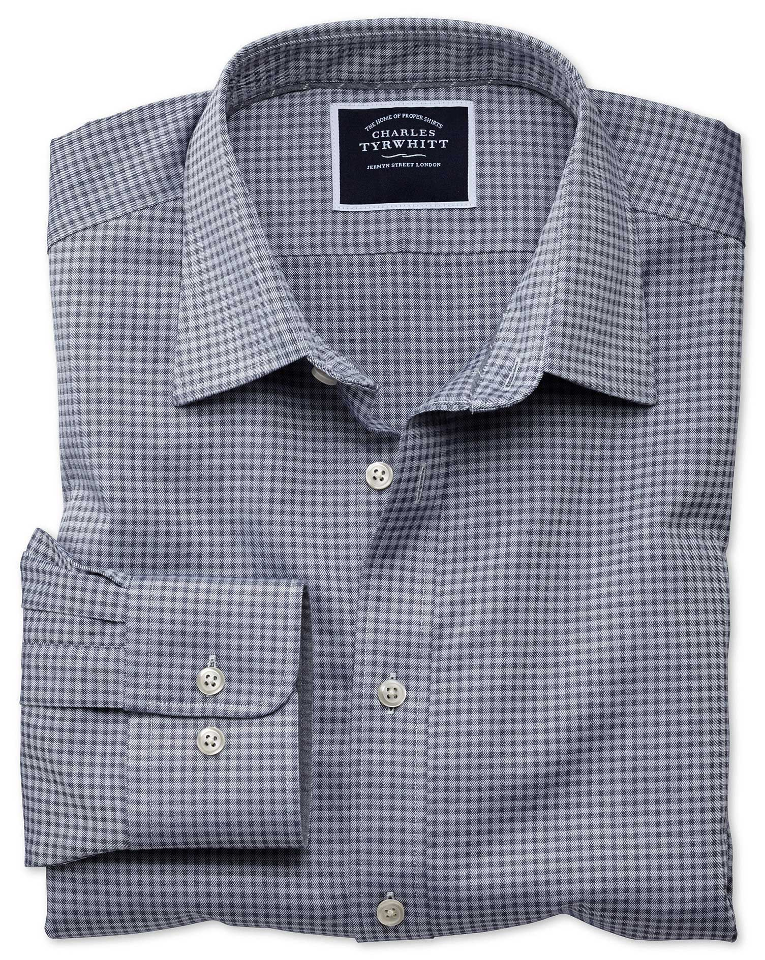 Extra Slim Fit Blue and Grey Check Soft Textured Cotton Shirt Single Cuff Size Large by Charles Tyrw