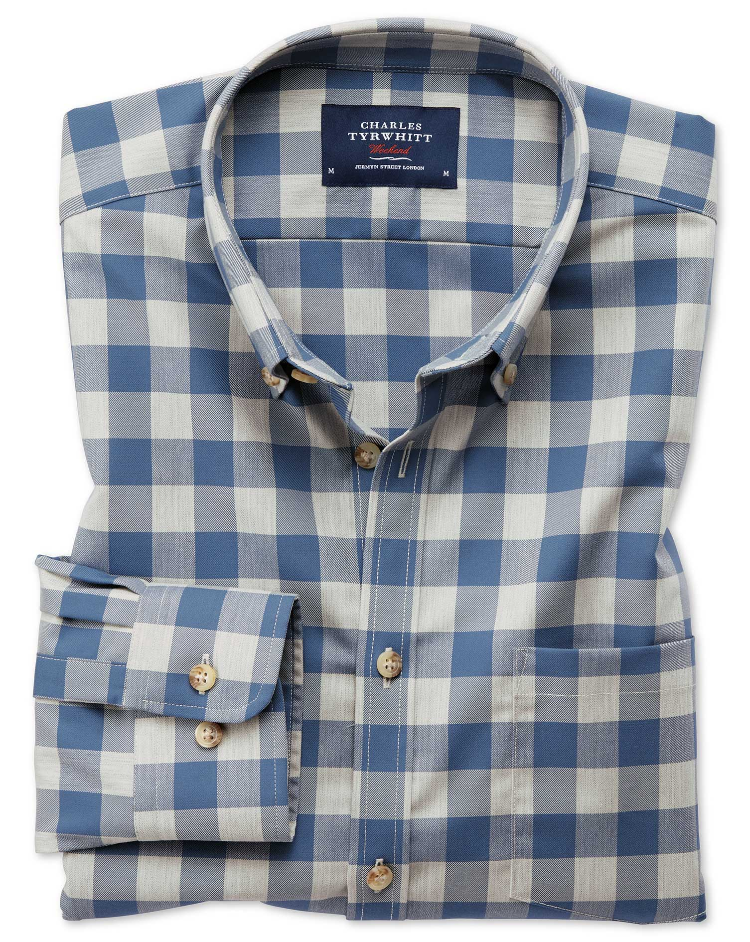 Extra Slim Fit Button-Down Non-Iron Twill Blue and Grey Check Cotton Shirt Single Cuff Size Medium b