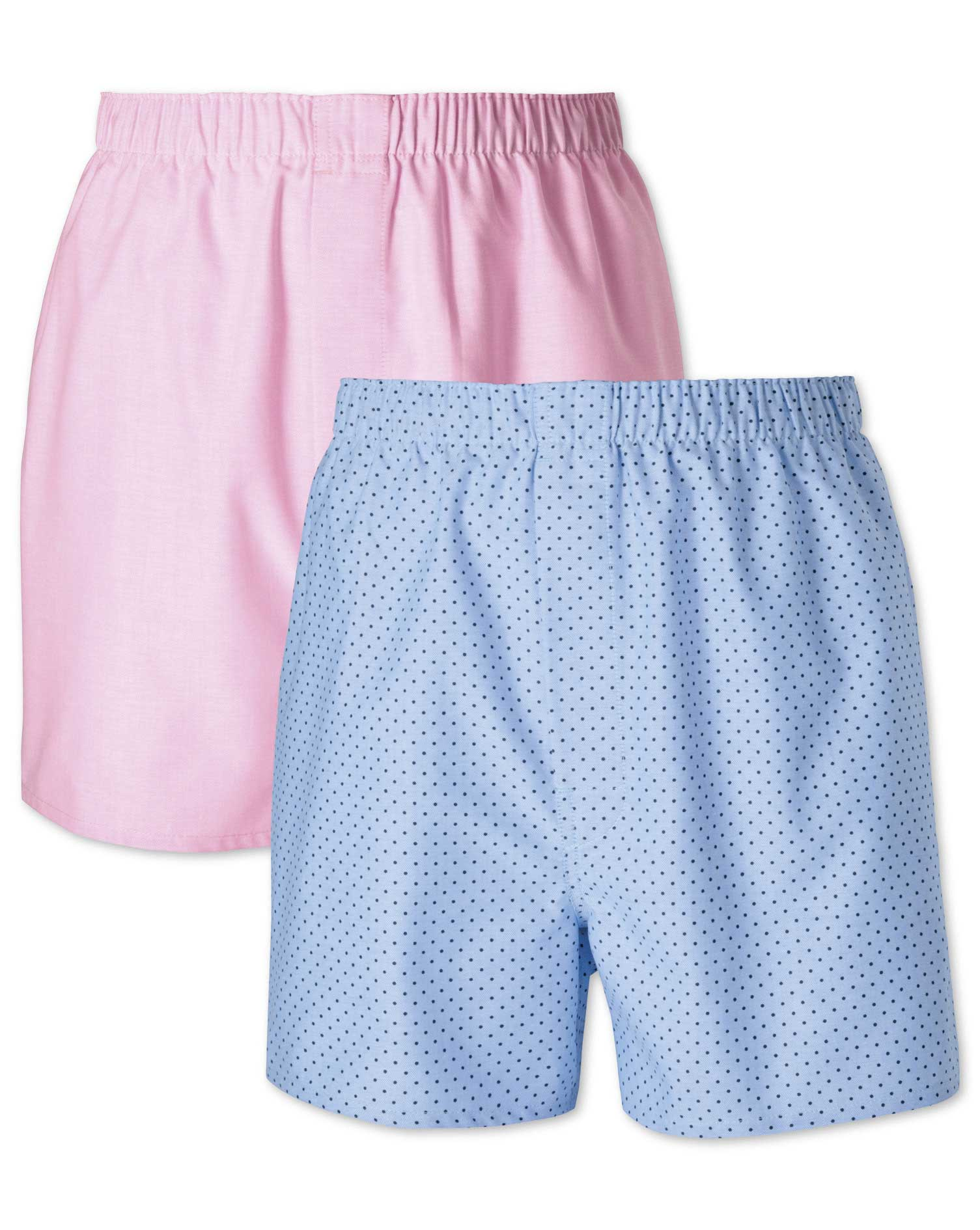Pink and Sky Dot 2 Pack Boxers Size XL by Charles Tyrwhitt