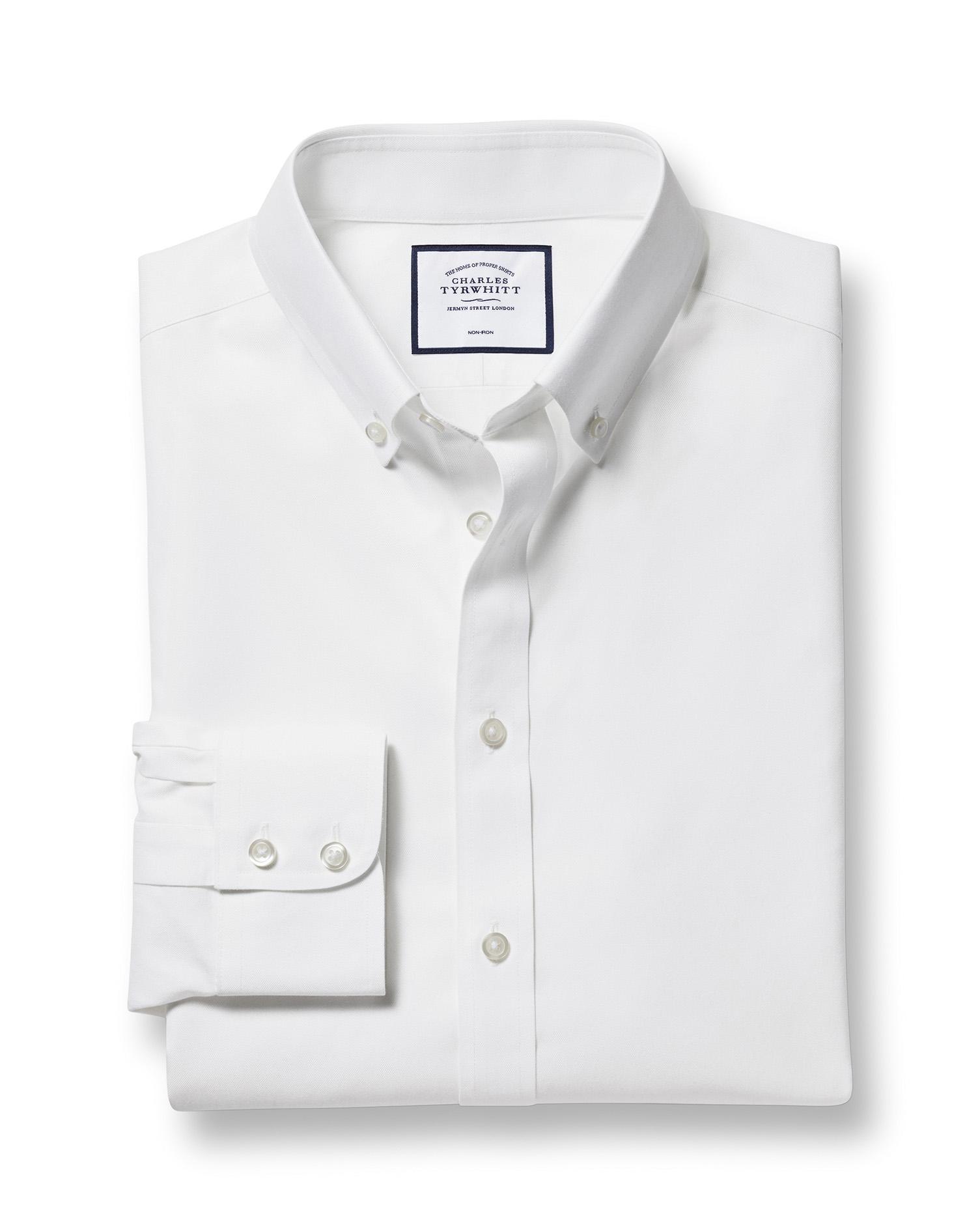 032d7b30 Slim fit button-down non-iron twill white shirt | Charles Tyrwhitt