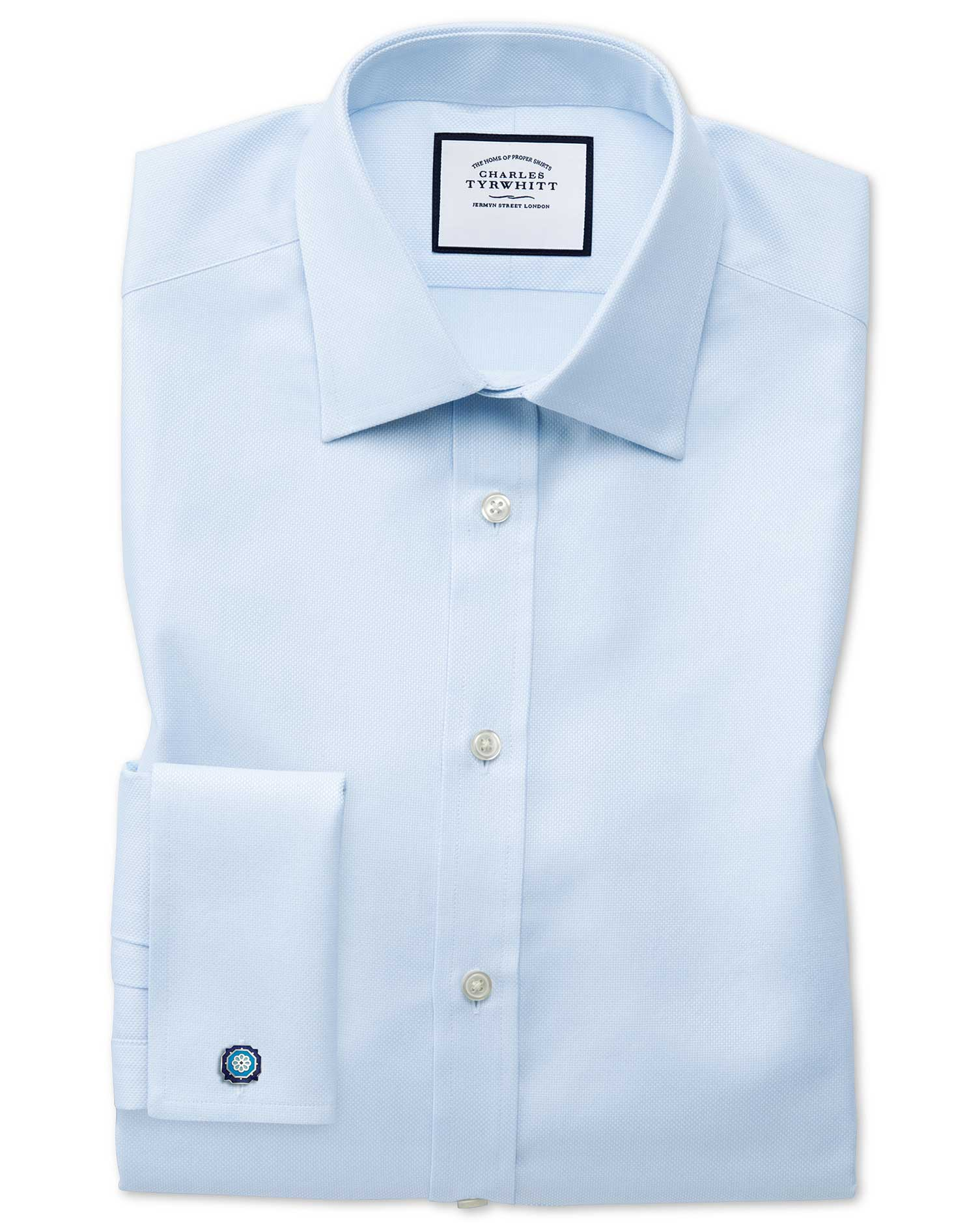 Classic Fit Egyptian Cotton Royal Oxford Sky Blue Formal Shirt Single Cuff Size 19/37 by Charles Tyr