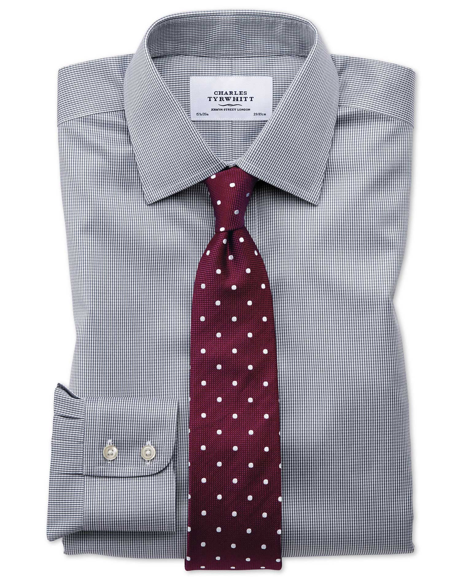 Classic fit non iron puppytooth dark grey shirt charles for What is a non iron shirt