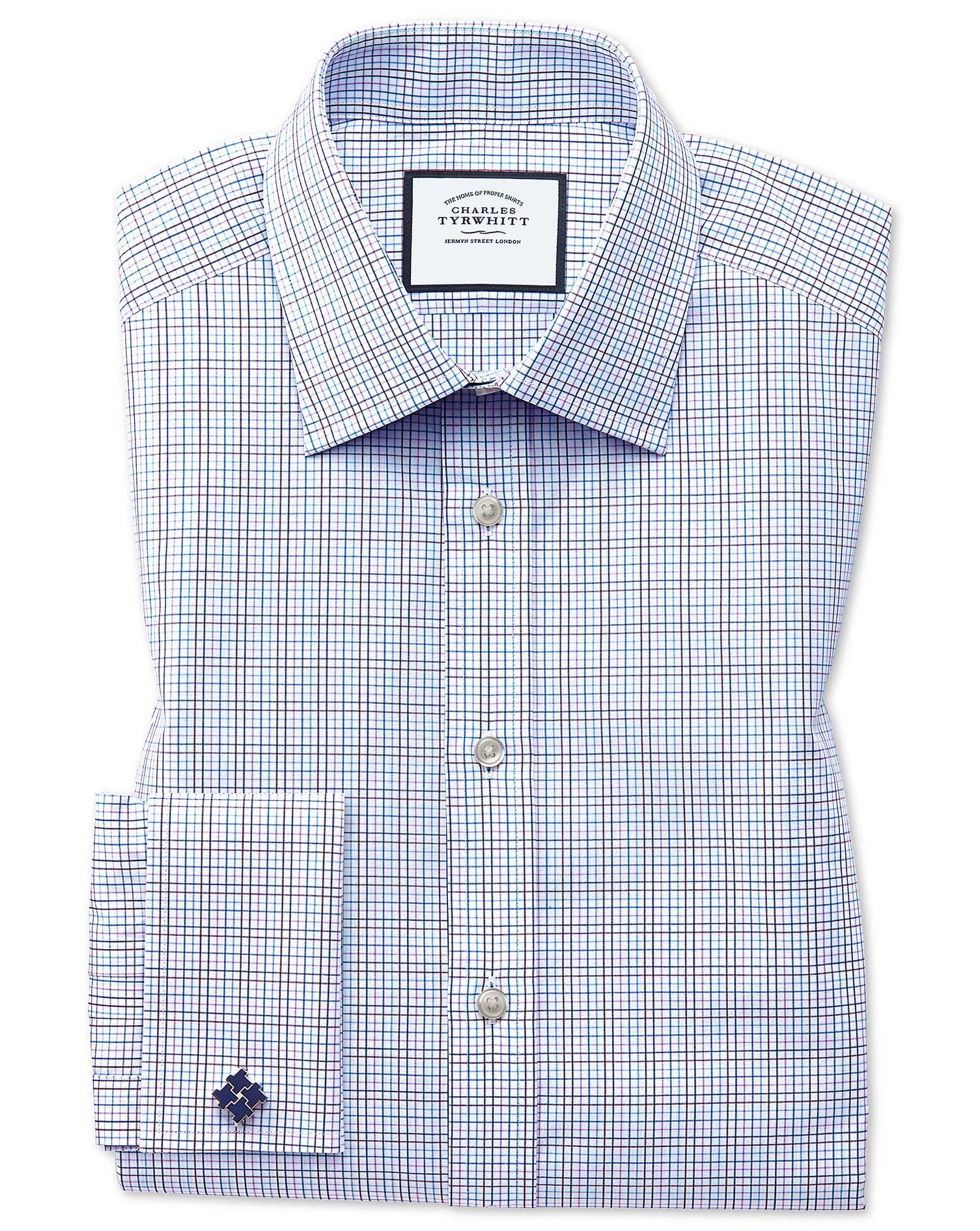 Classic Fit Purple Multi Check Egyptian Cotton Formal Shirt Double Cuff Size 18/35 by Charles Tyrwhi