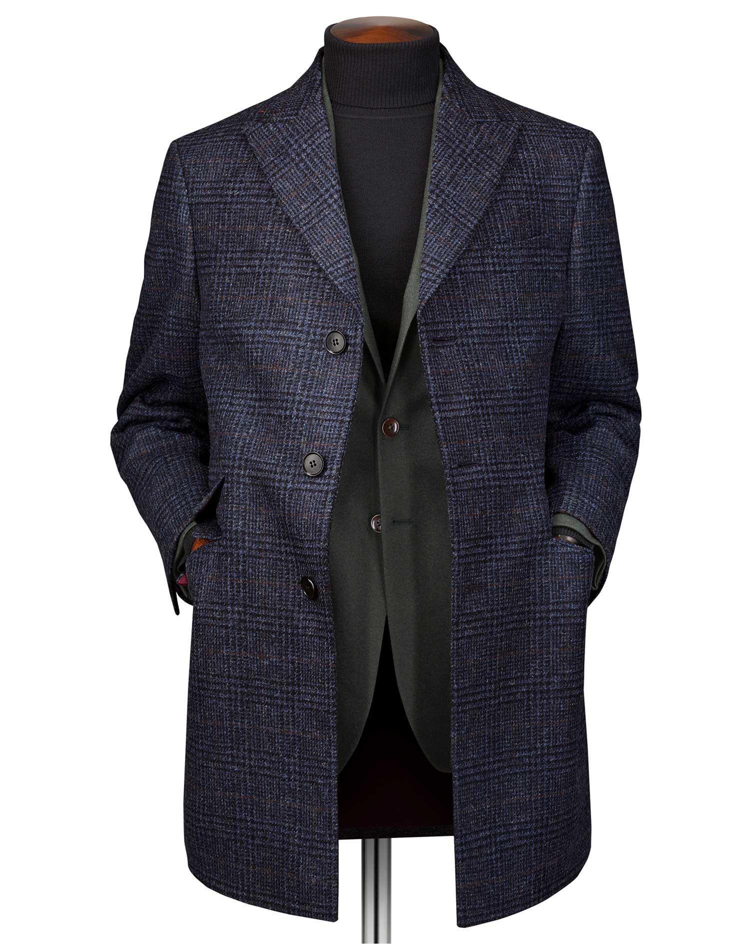 Navy OverCheckered Wool Epsom Coat Size 38 Regular by Charles Tyrwhitt