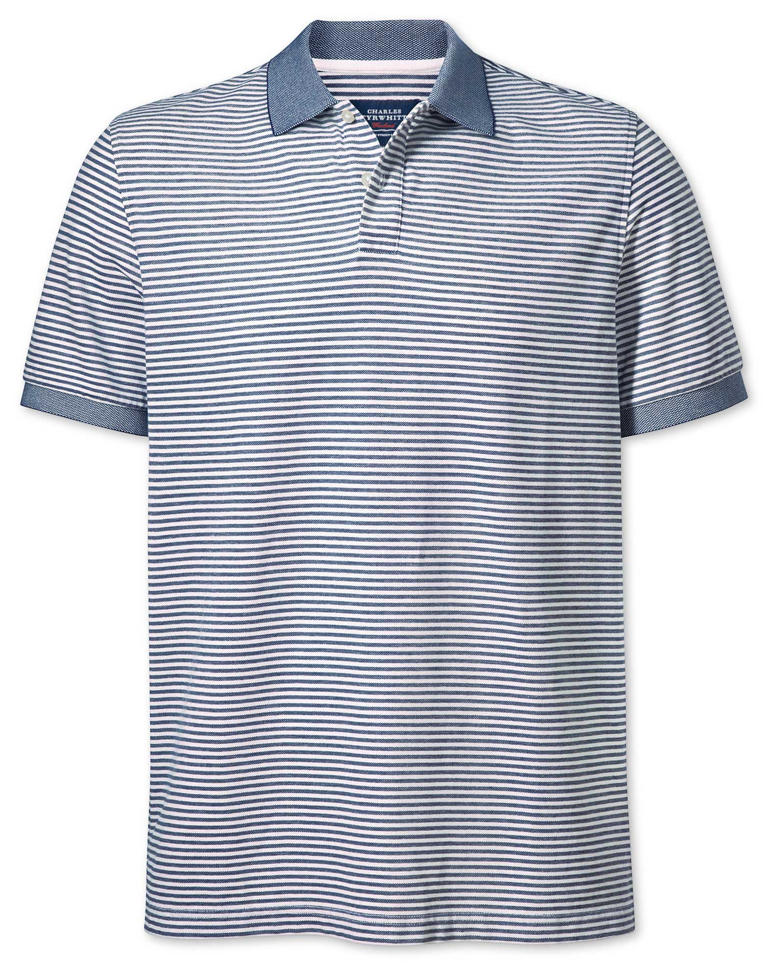 Navy and White Stripe Oxford Cotton Polo Size XS by Charles Tyrwhitt