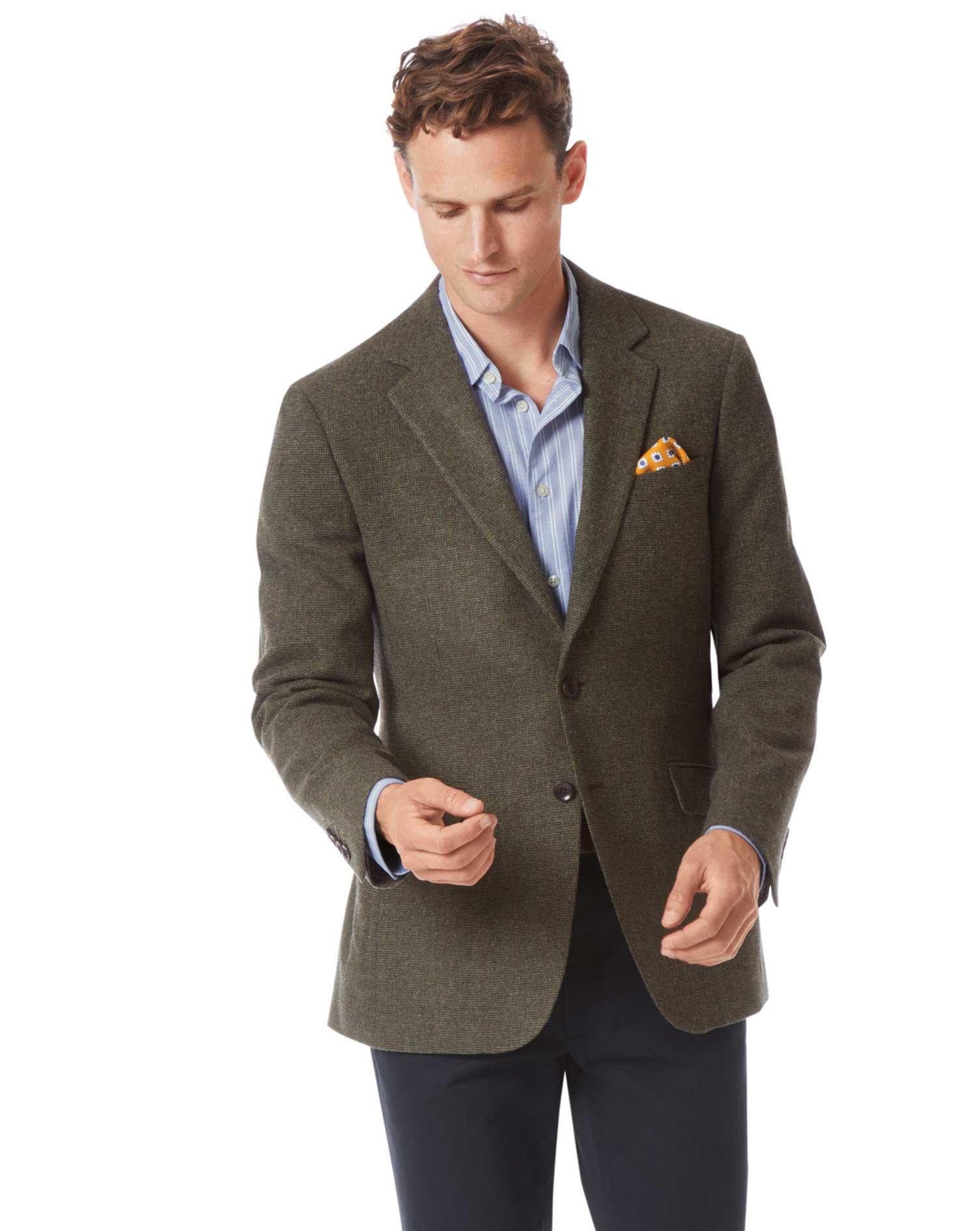 Slim Fit Green Wool Jacket Size 46 Long by Charles Tyrwhitt