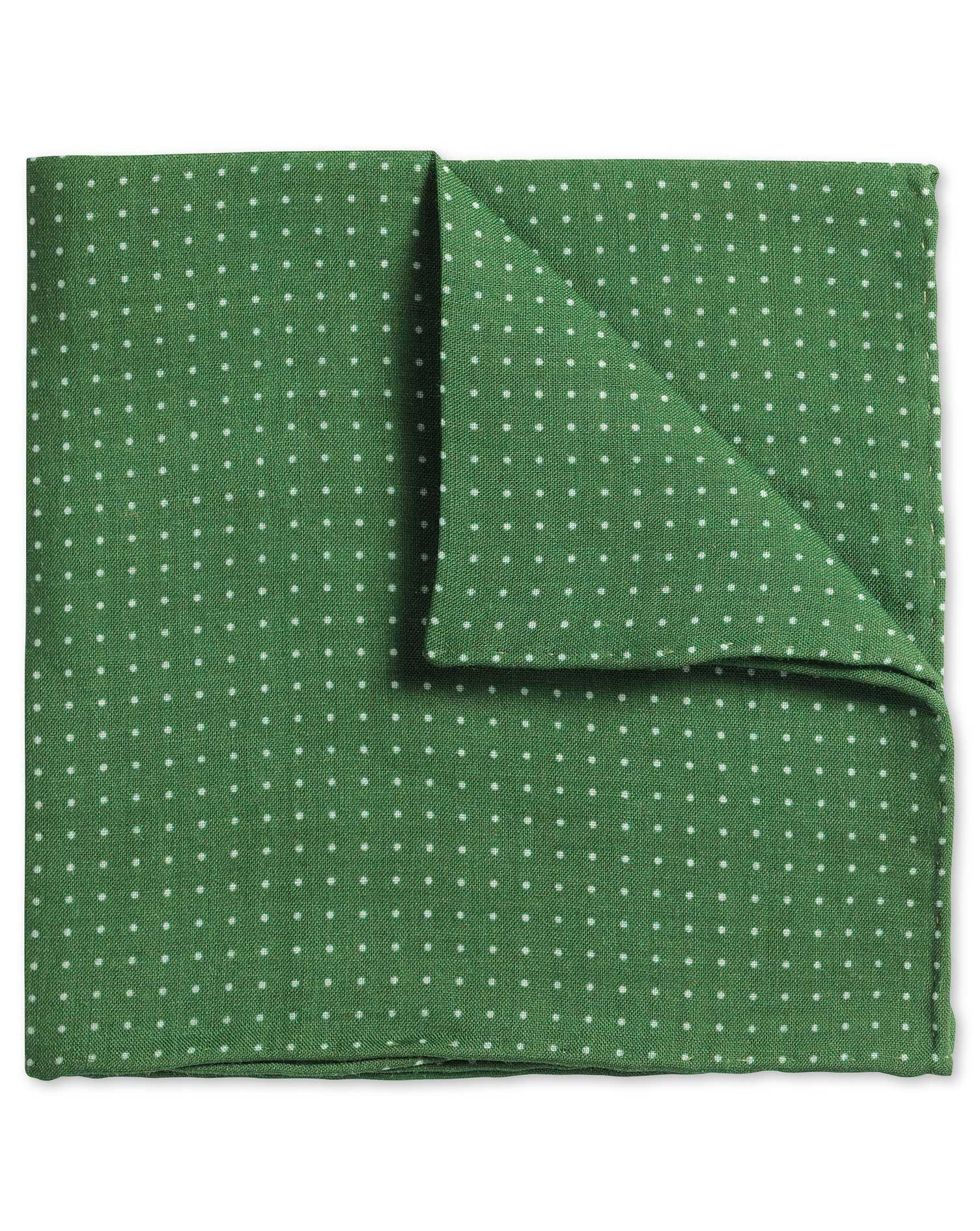 Green Linen Spot Classic Pocket Square Size OSFA by Charles Tyrwhitt