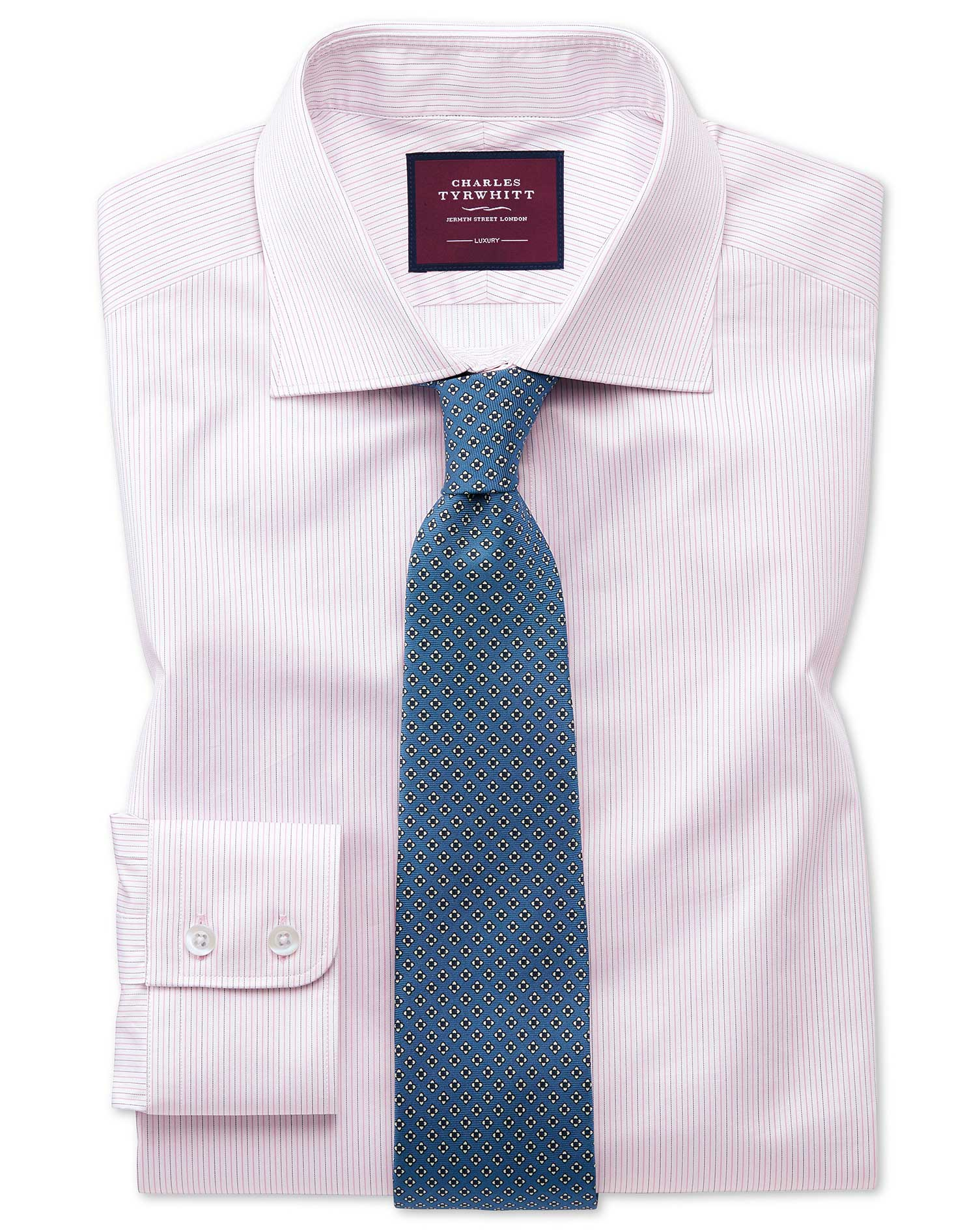 Cotton Classic Fit Luxury Fine Stripe Pink Shirt
