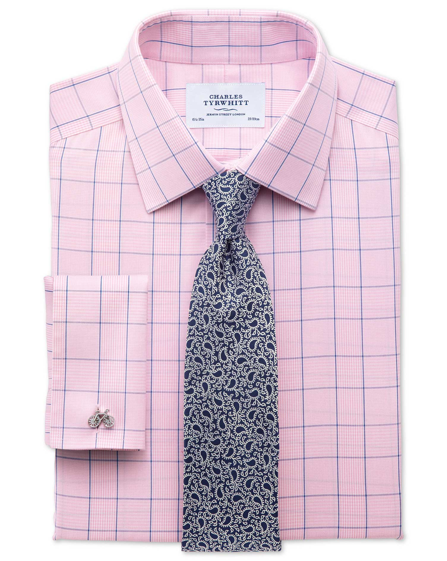 Classic fit non-iron Prince of Wales check pink and blue shirt ...