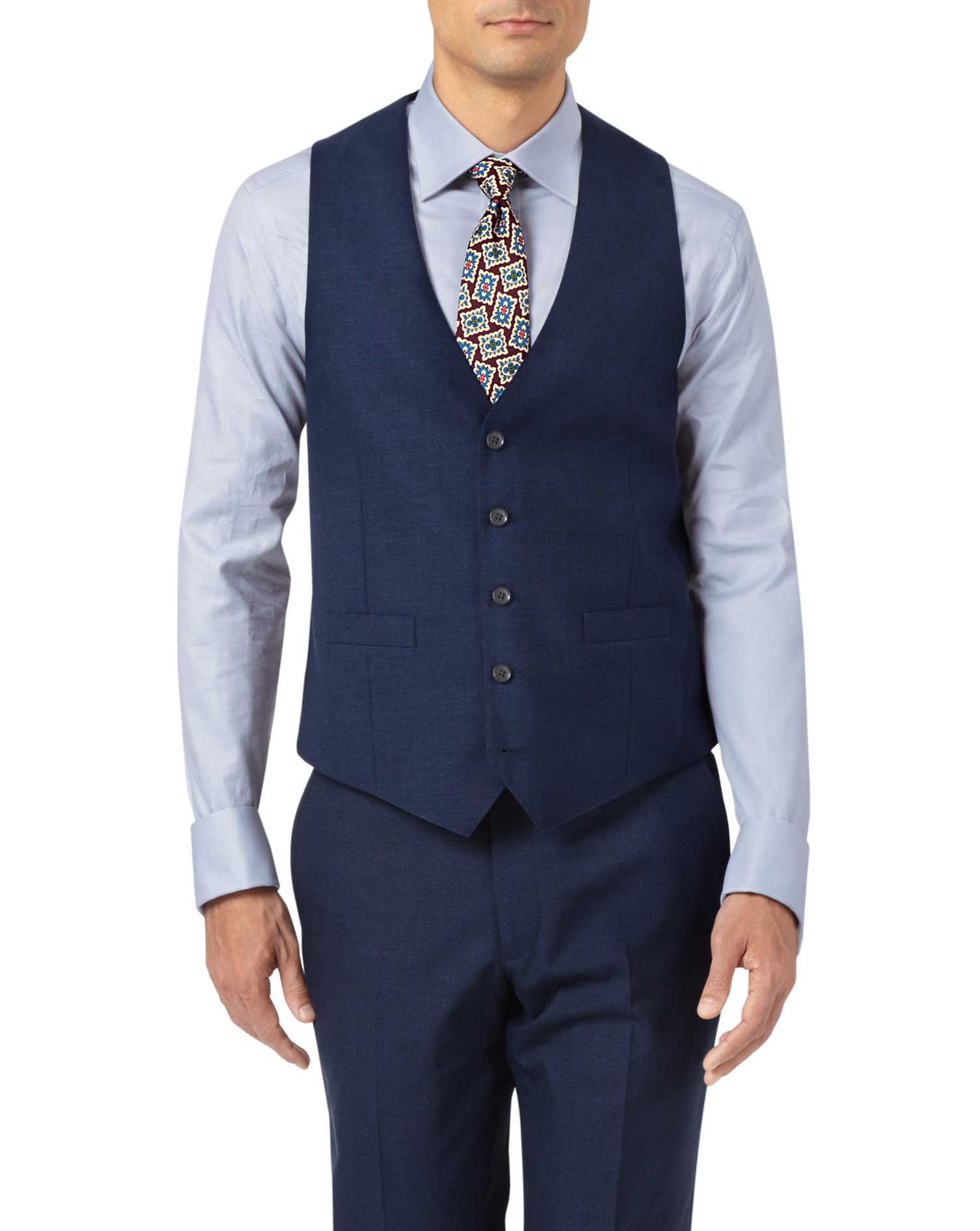 Indigo Blue Adjustable Fit Panama Puppytooth Business Suit Wool Waistcoat Size w48 by Charles Tyrwhi