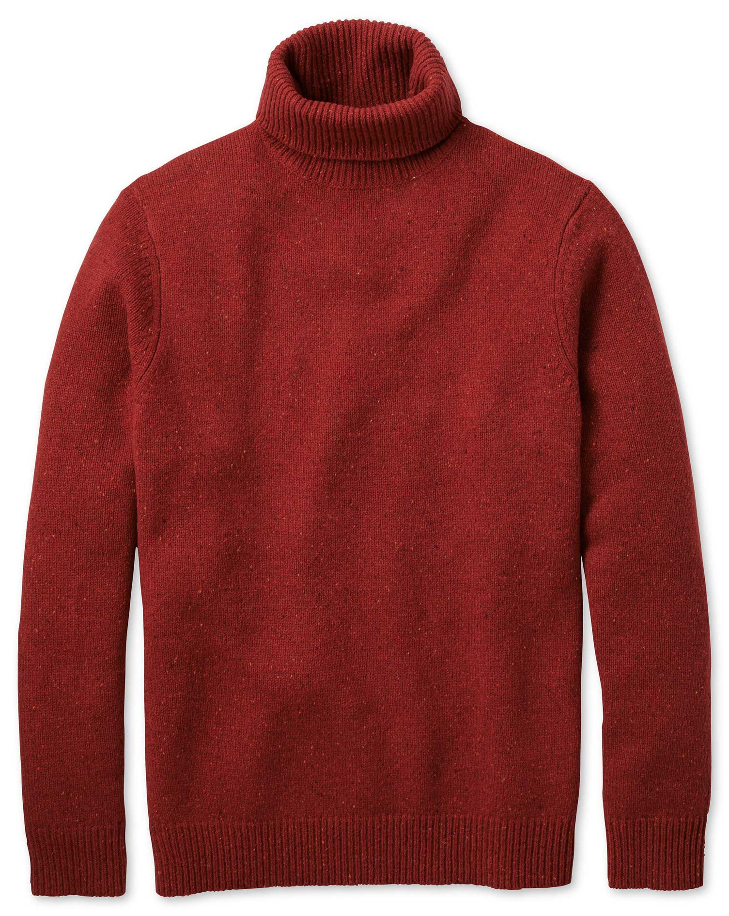Red Roll Neck Donegal Merino Wool Jumper Size Large by Charles Tyrwhitt