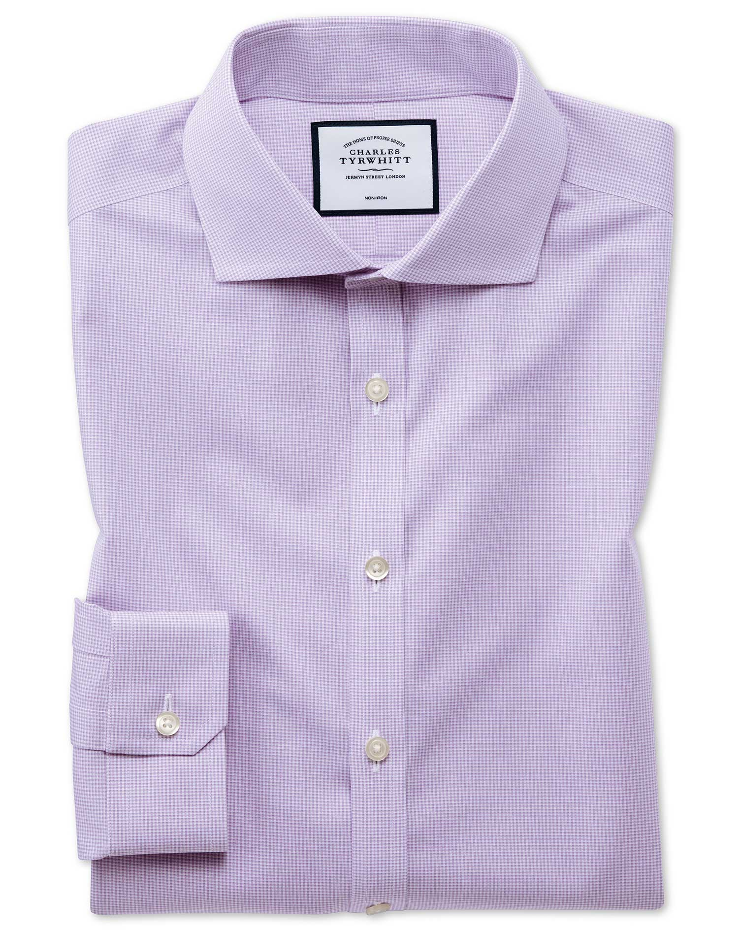 Super Slim Fit Non-Iron 4-Way Stretch Lilac Check Cotton Formal Shirt Single Cuff Size 15/34 by Char