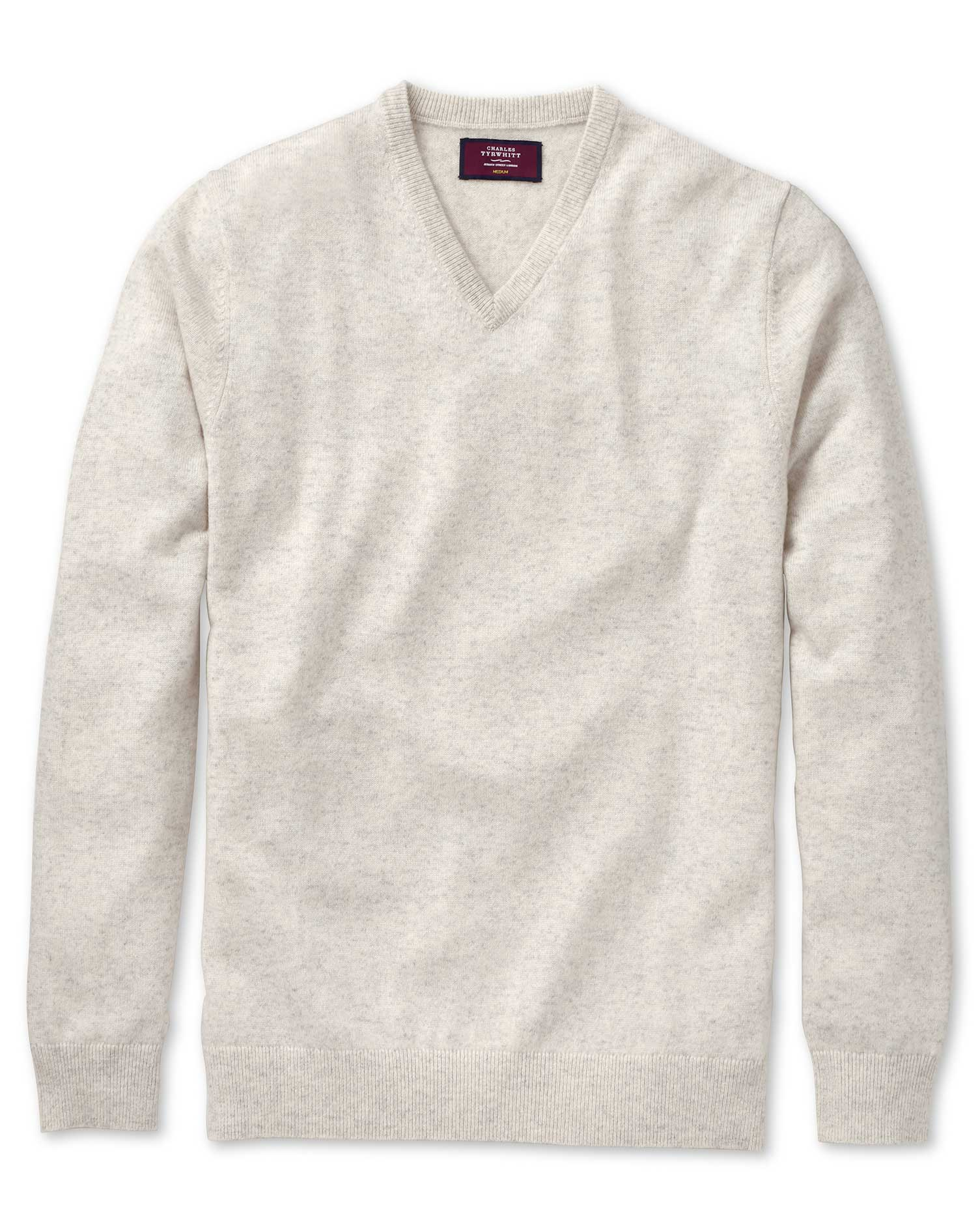 Chalk White Cashmere V-Neck Sweater Size Large by Charles Tyrwhitt