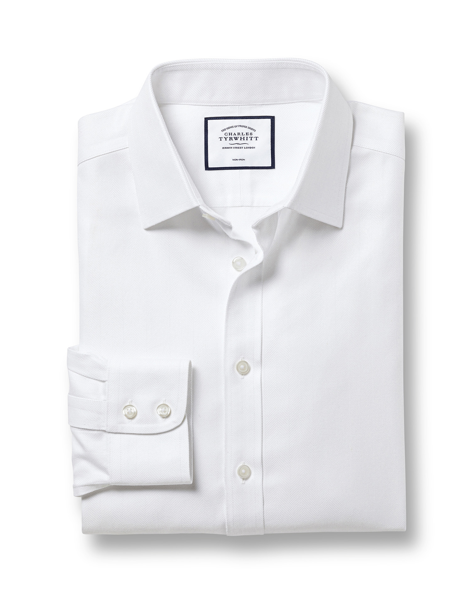 Classic Fit Non-Iron Herringbone White Cotton Formal Shirt Double Cuff Size 19/38 by Charles Tyrwhit