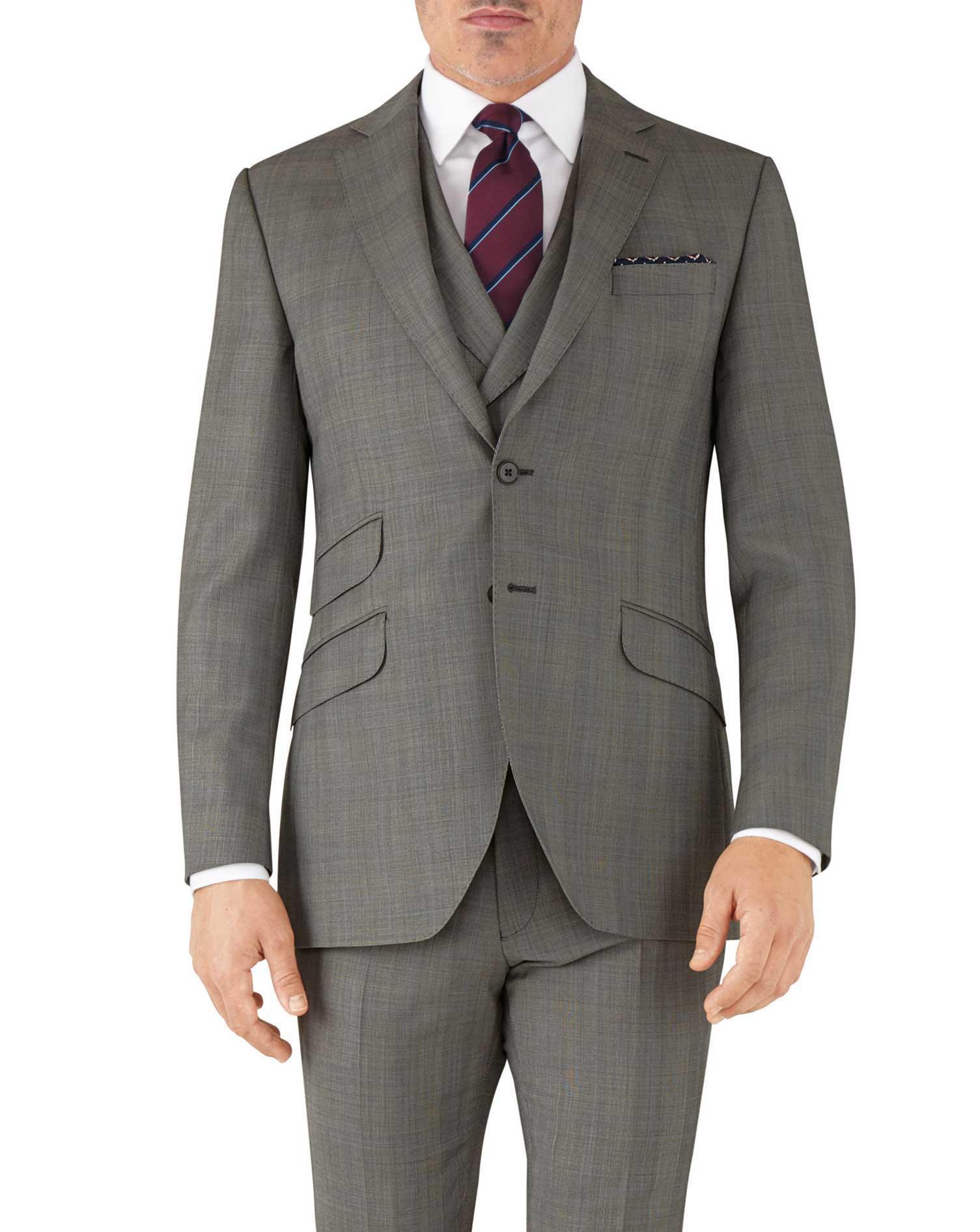 Silver Slim Fit Italian Sharkskin Luxury Check Suit Wool Jacket Size 38 Short by Charles Tyrwhitt