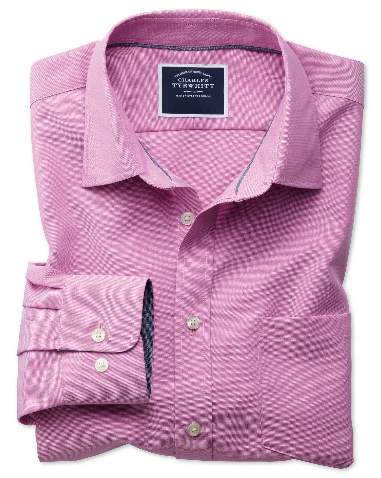Classic Fit Non-Iron Oxford Dark Pink Plain Cotton Shirt Single Cuff Size Large by Charles Tyrwhitt