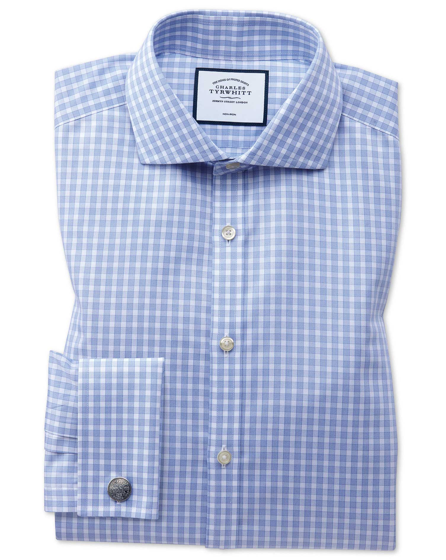 Extra Slim Fit Non-Iron Twill Gingham Sky Blue Cotton Formal Shirt Single Cuff Size 15.5/32 by Charl