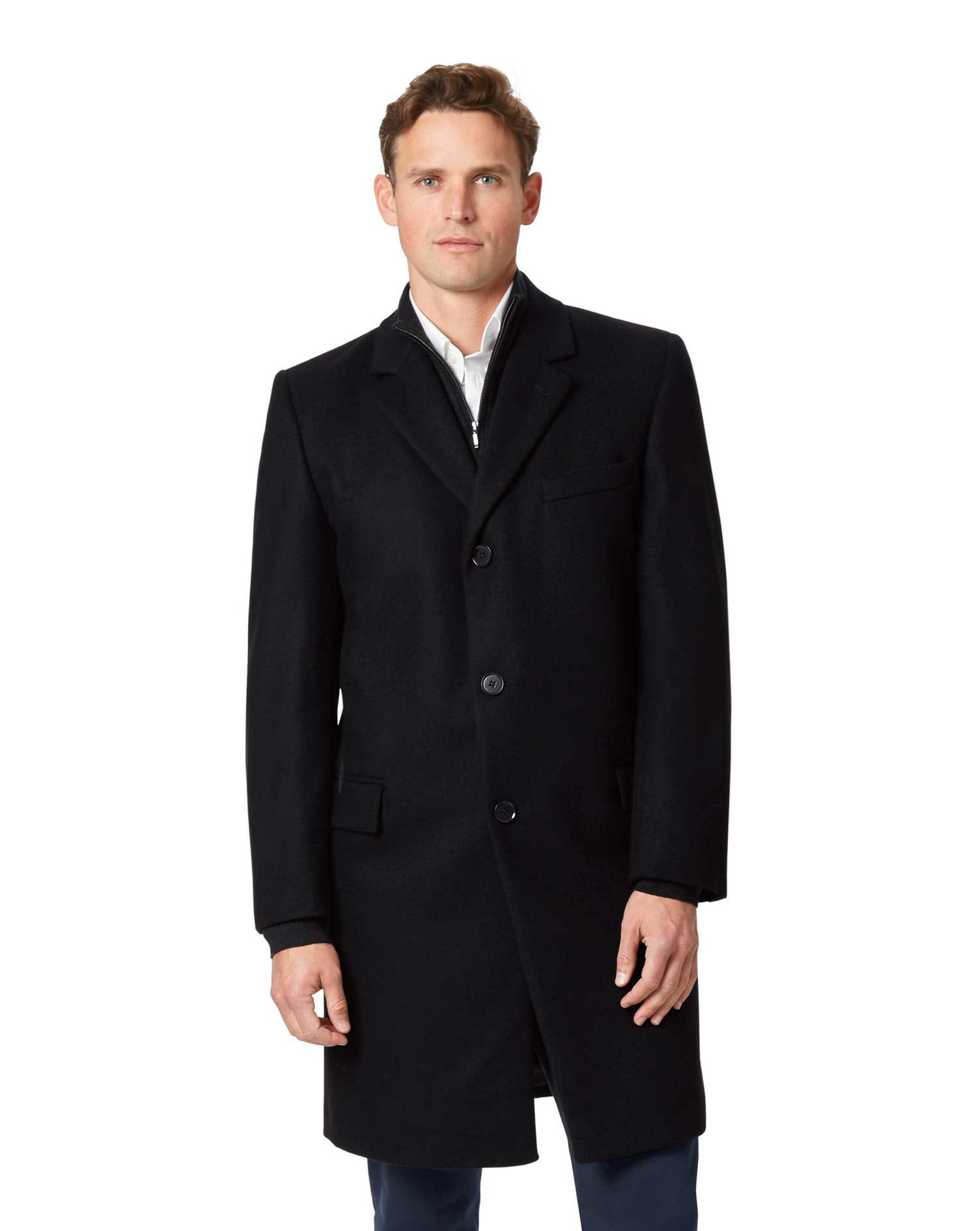 Black Italian Wool and Cashmere Overcoat Size 44 Long by Charles Tyrwhitt