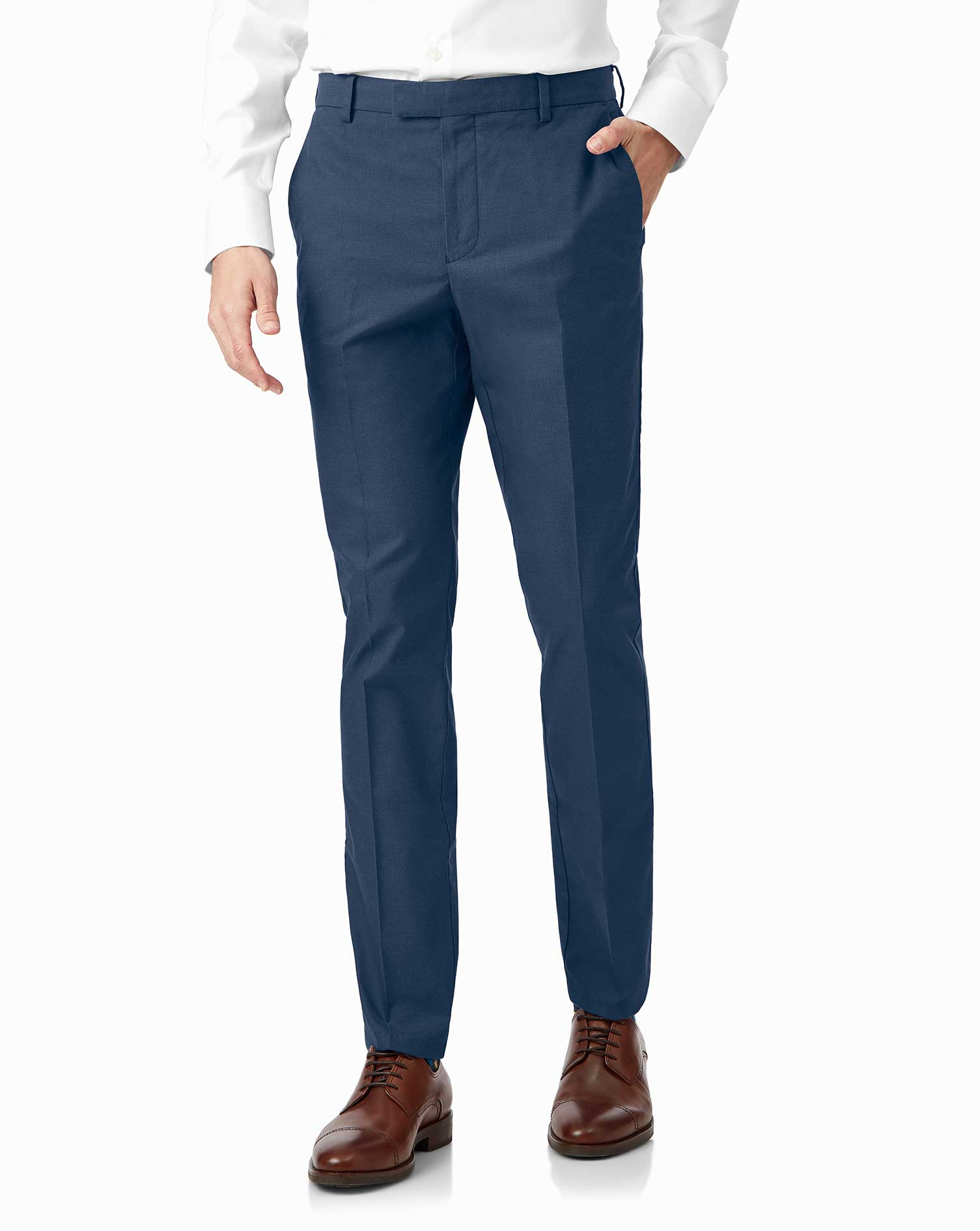 Bright Blue Non-Iron Stretch Textured Trousers Size W36 L34 by Charles Tyrwhitt