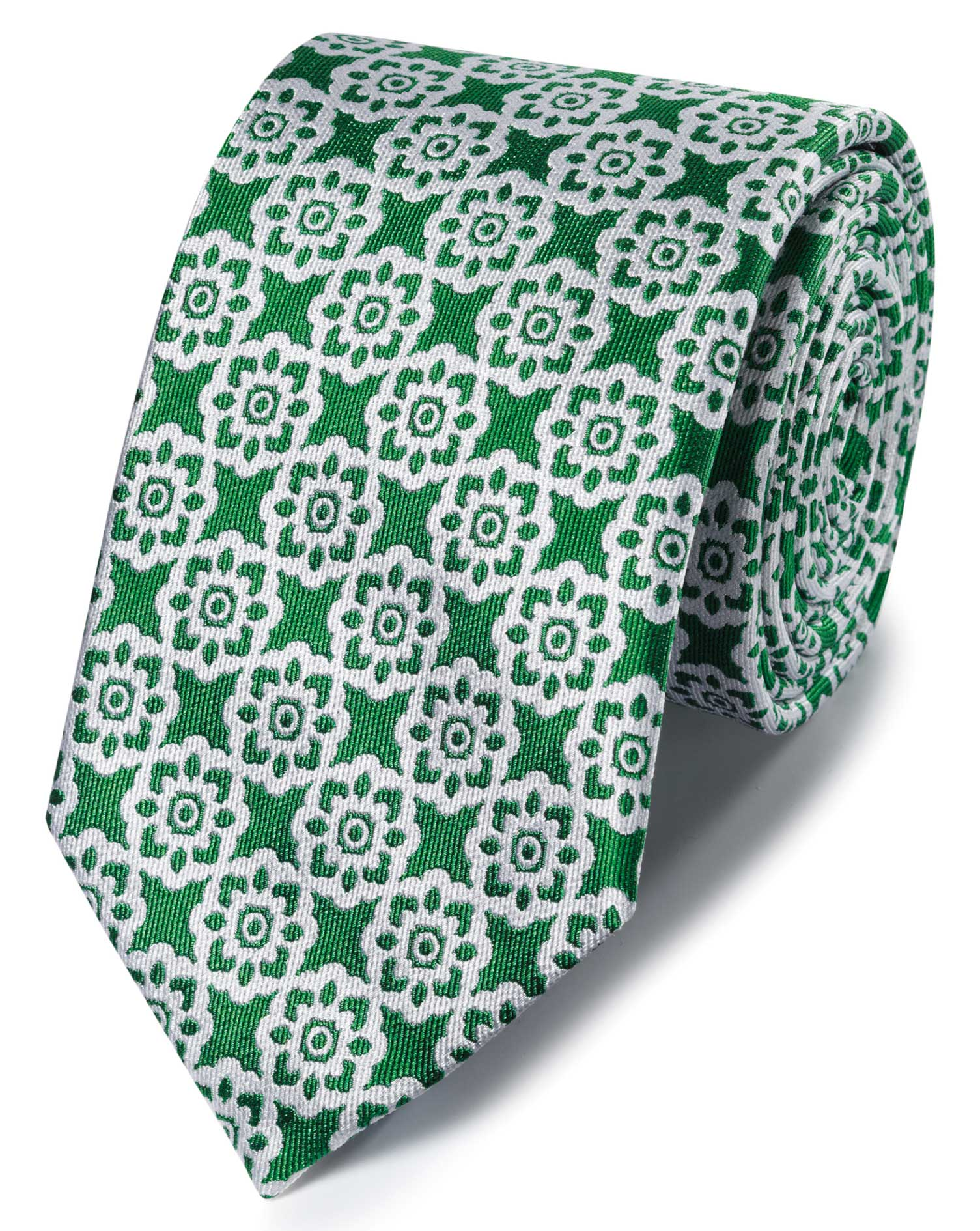 Green and White Floral Classic Silk Tie Size OSFA by Charles Tyrwhitt