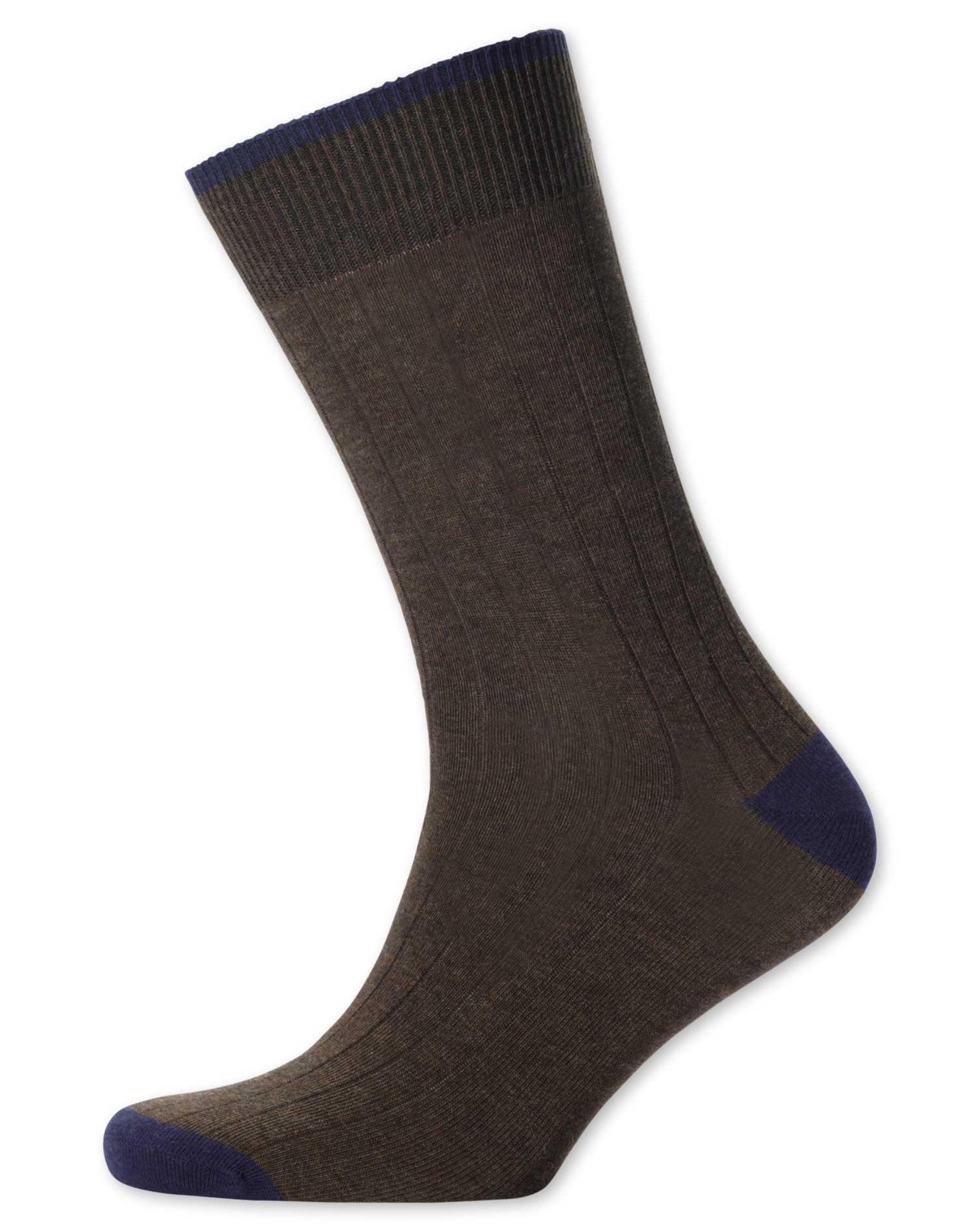 Brown Cotton Rib Socks Size Large by Charles Tyrwhitt