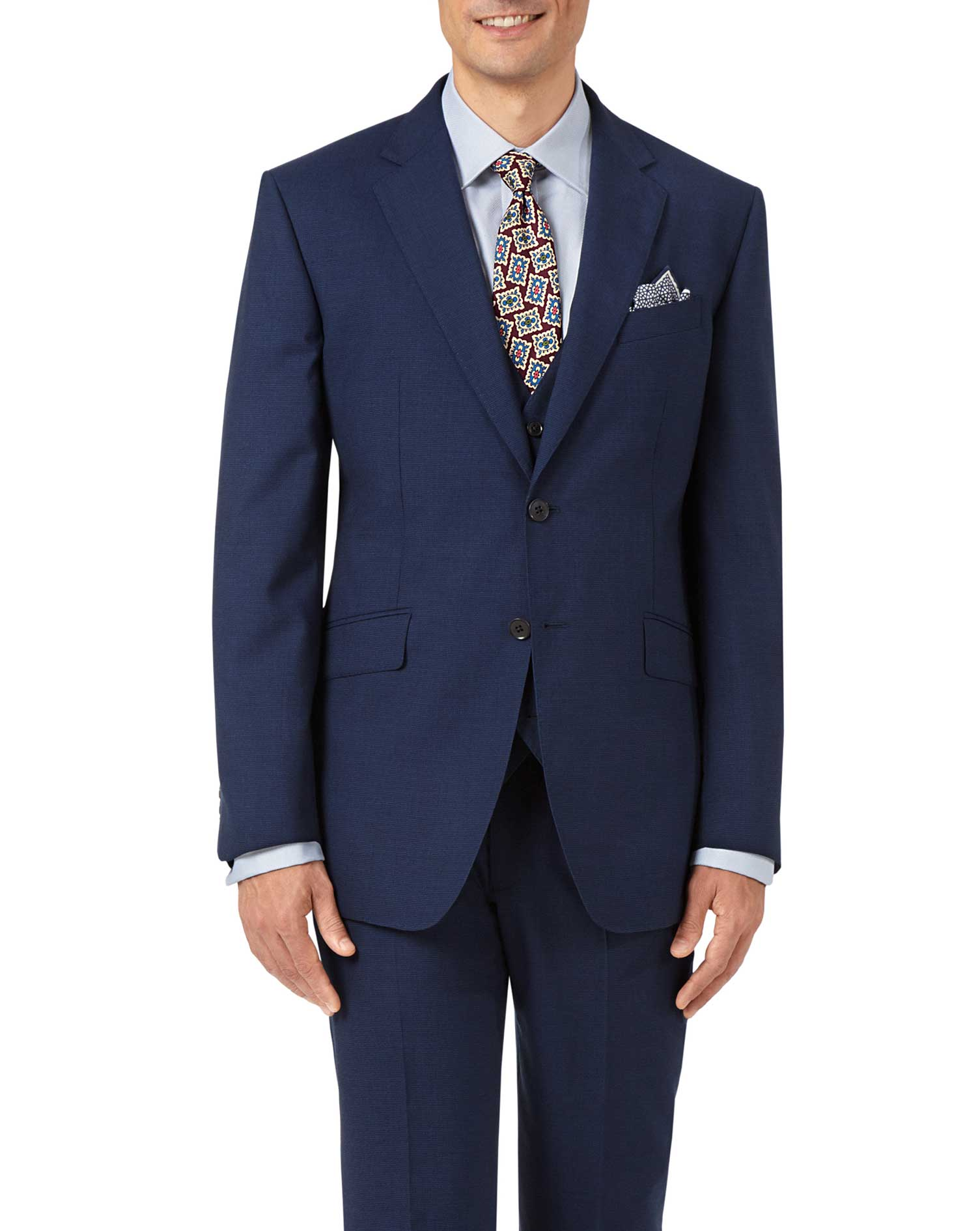 Indigo blue slim fit Panama puppytooth business suit jacket