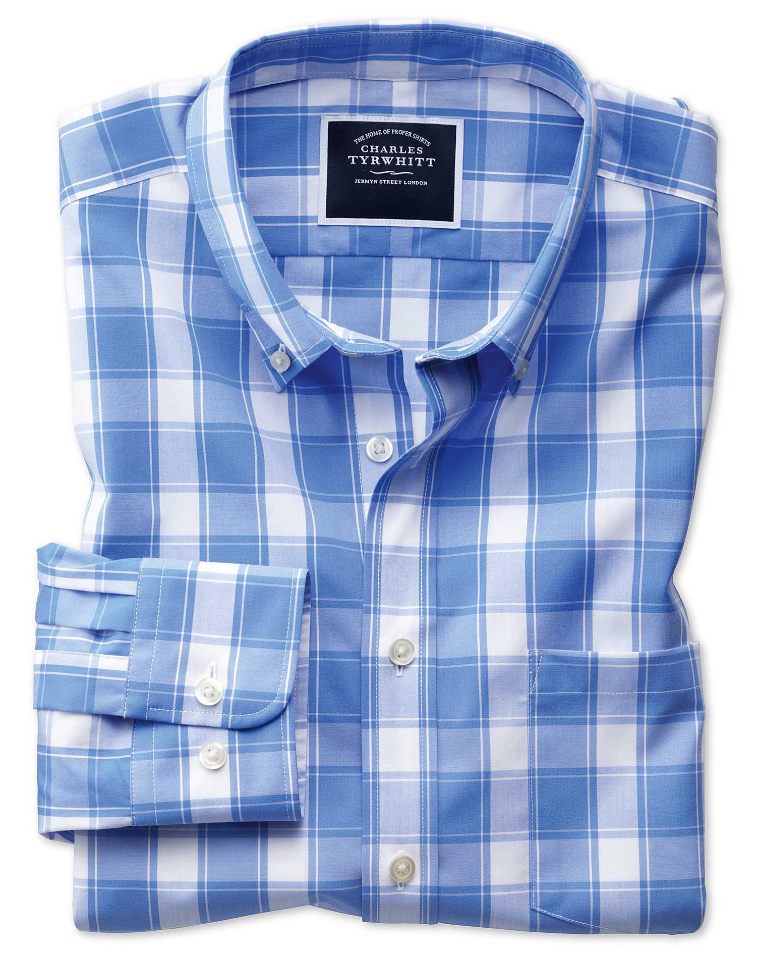 Slim Fit Button-Down Non-Iron Poplin Blue and White Check Cotton Shirt Single Cuff Size Small by Cha