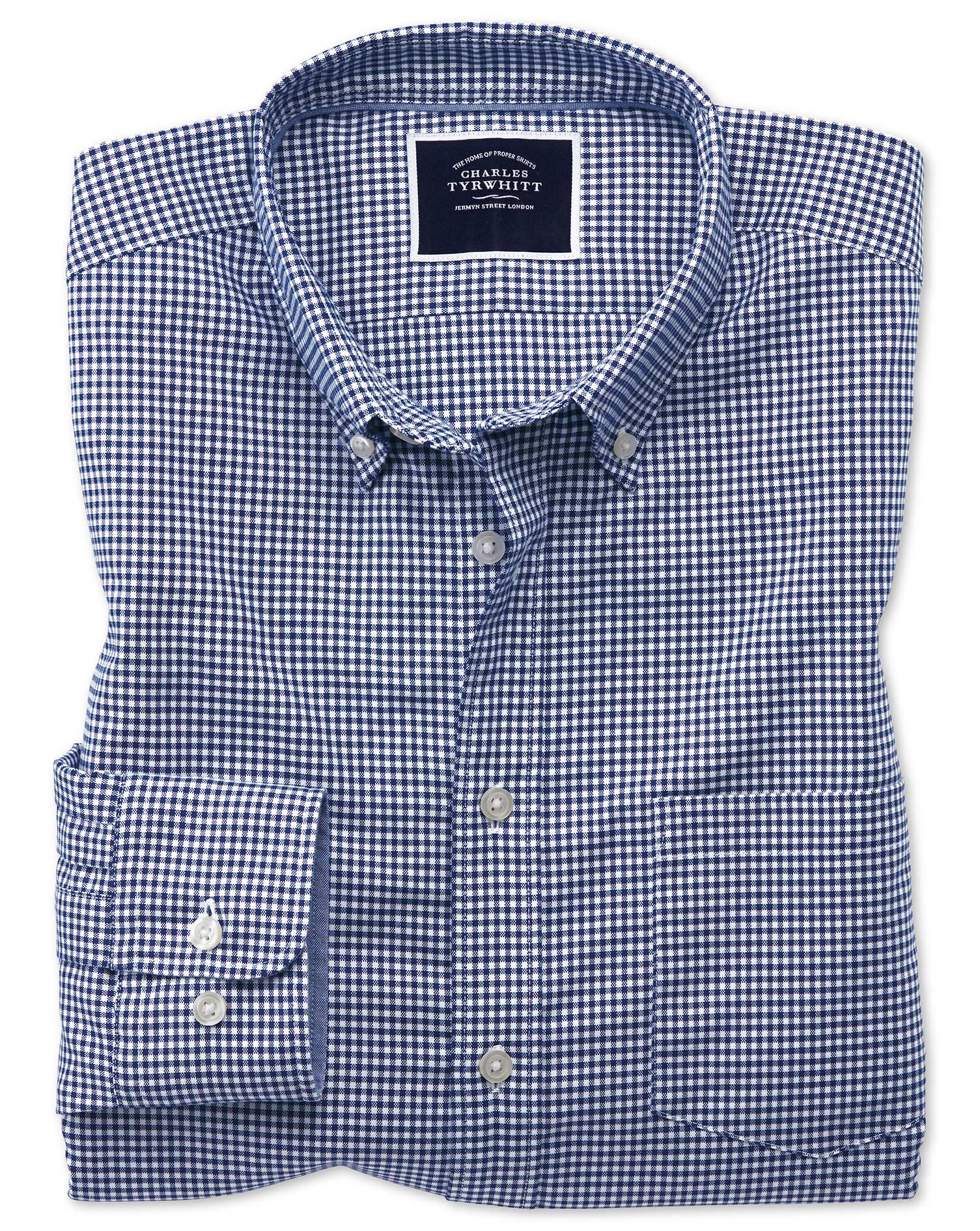 Slim Fit Royal Blue Gingham Soft Washed Non-Iron Stretch Cotton Shirt Single Cuff Size XXL by Charle