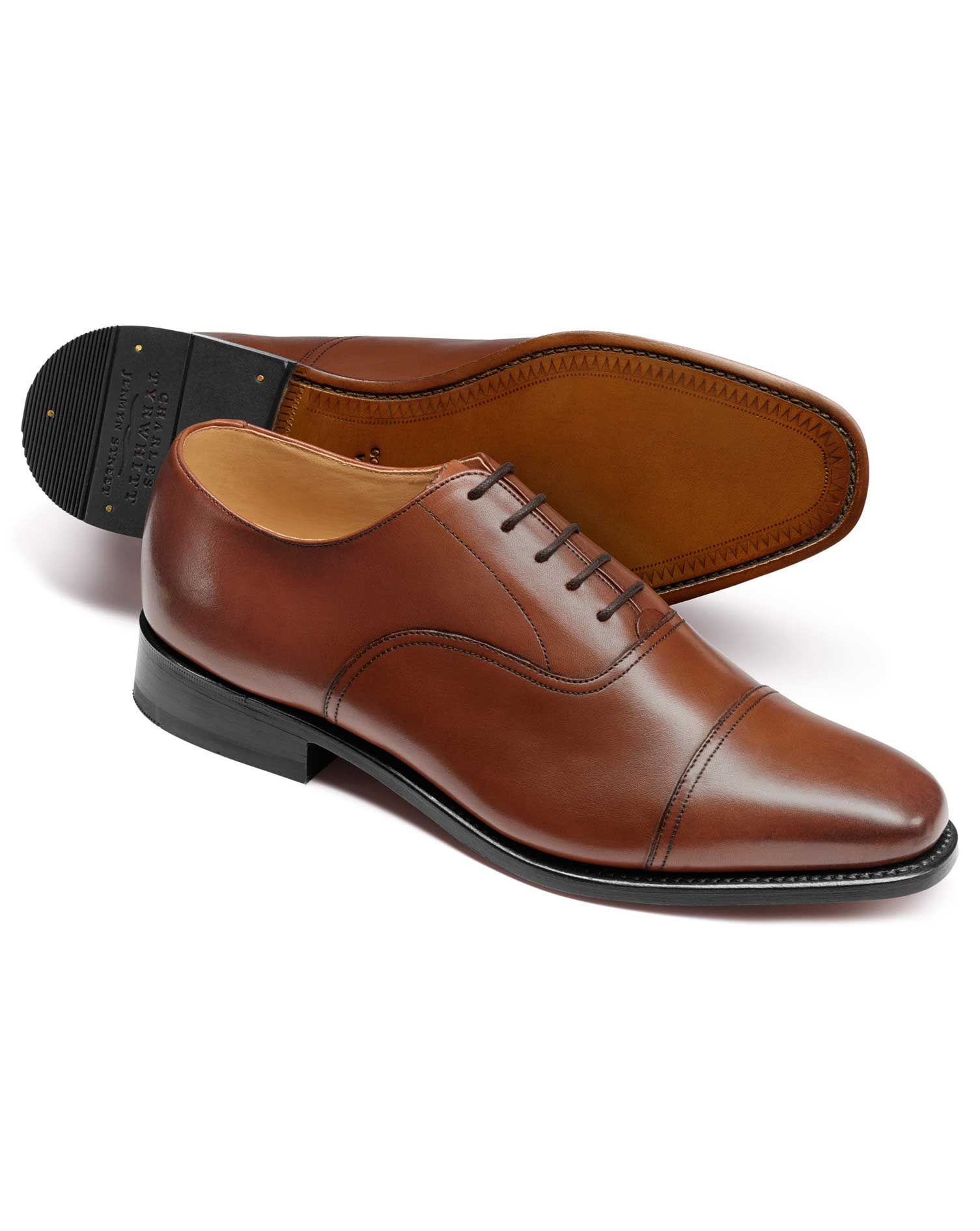 Tan Goodyear Welted Oxford Toe Cap Shoes Size 8 W by Charles Tyrwhitt