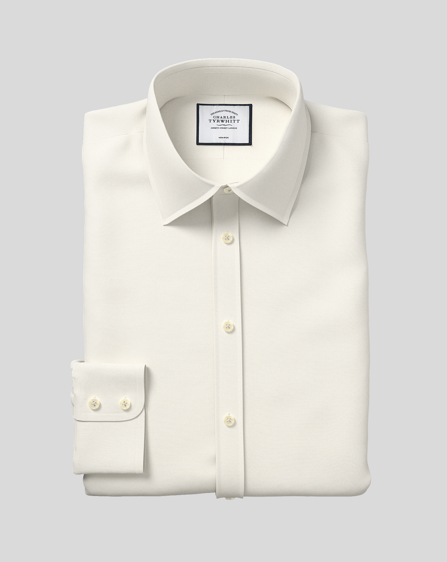 Slim Fit Cream Non-Iron Poplin Cotton Formal Shirt Single Cuff Size 16.5/35 by Charles Tyrwhitt
