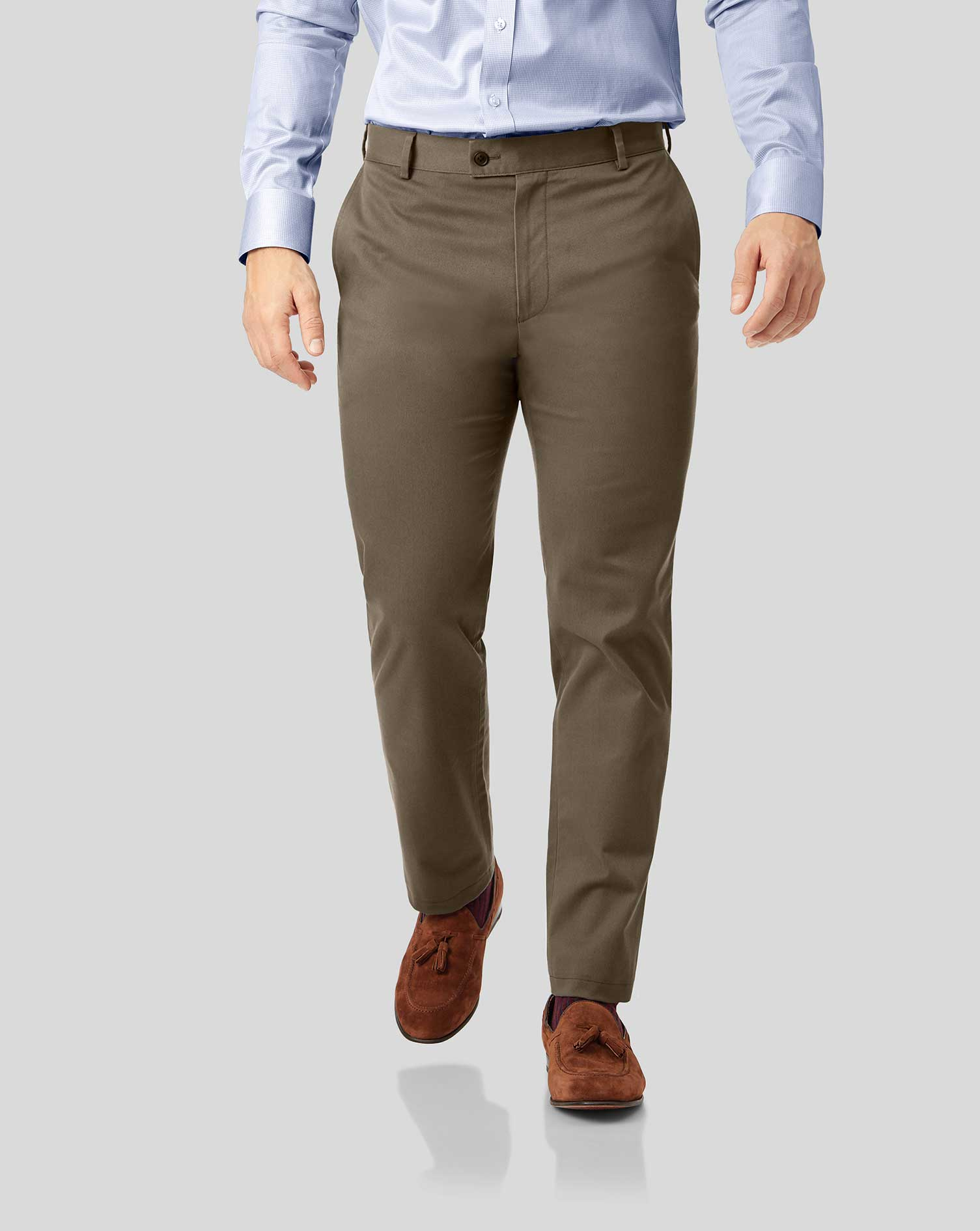 Mocha Non-Iron Ultimate Cotton Chino Trousers Size W34 L32 by Charles Tyrwhitt
