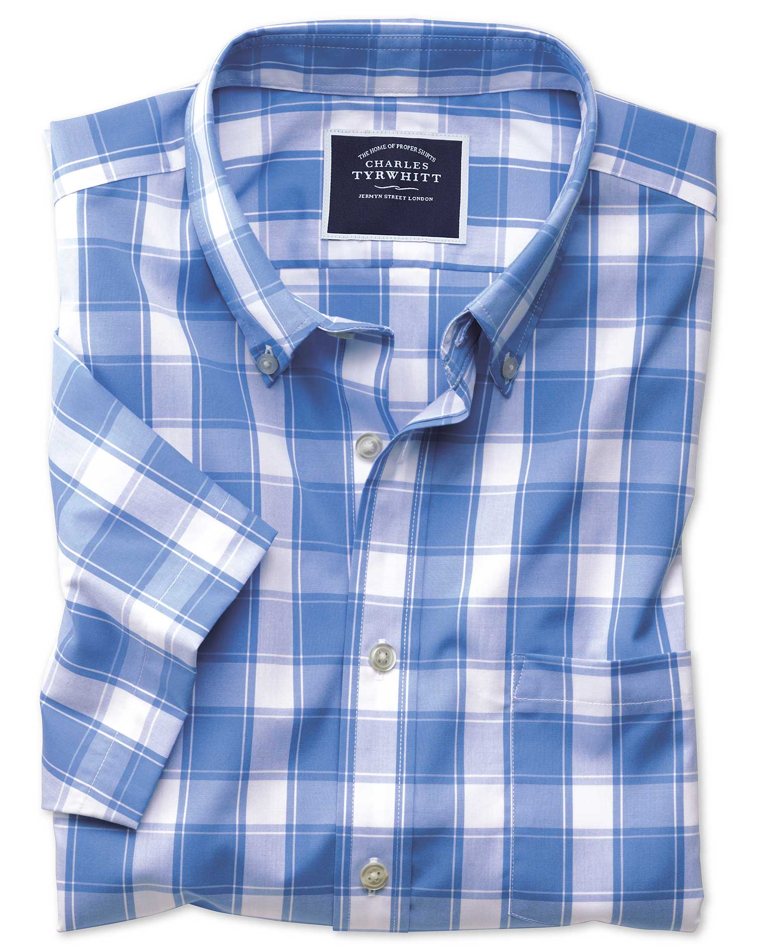 Slim Fit Button-Down Non-Iron Poplin Short Sleeve Blue and White Check Cotton Shirt Single Cuff Size