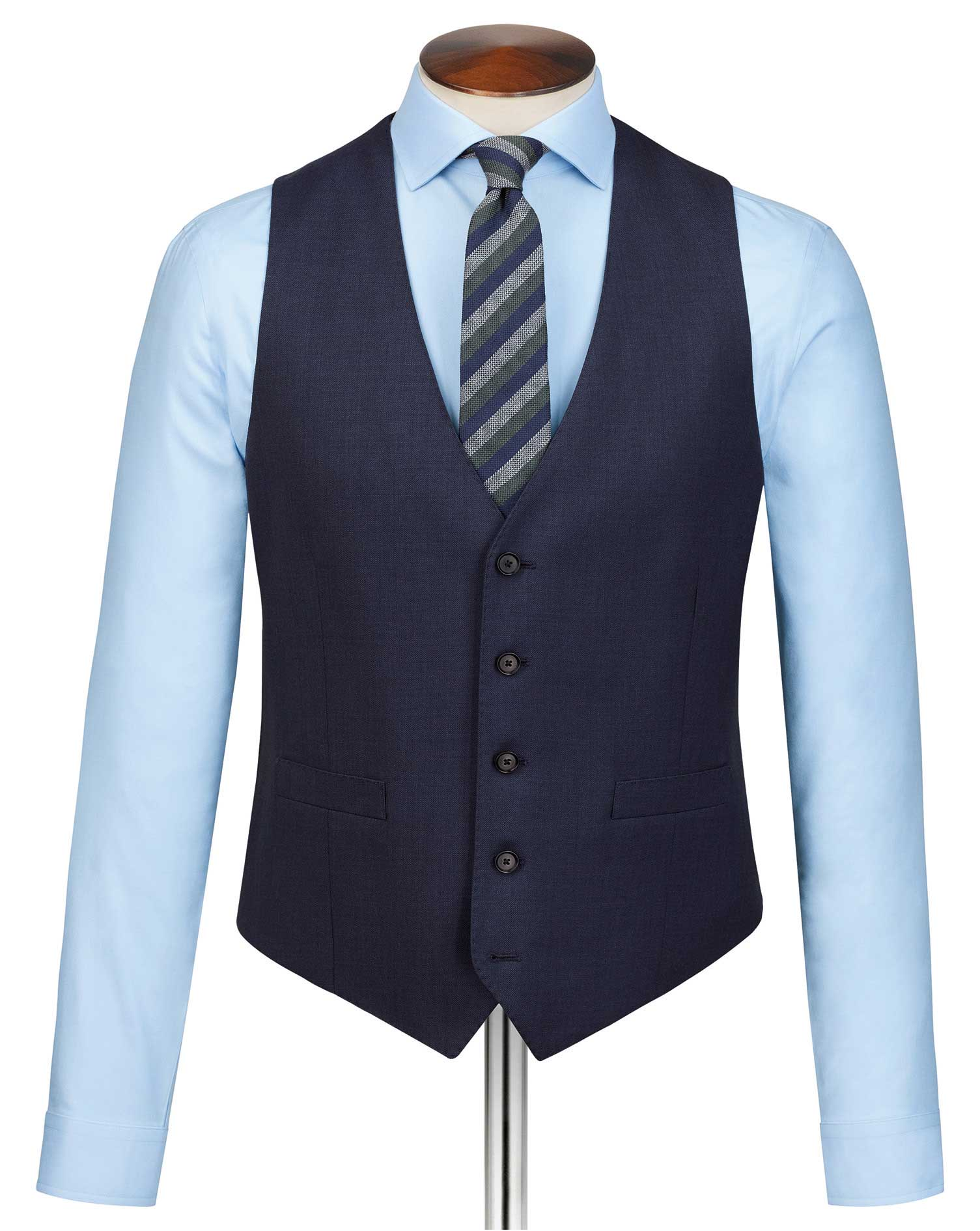 Navy slim fit sharkskin travel suit waistcoat