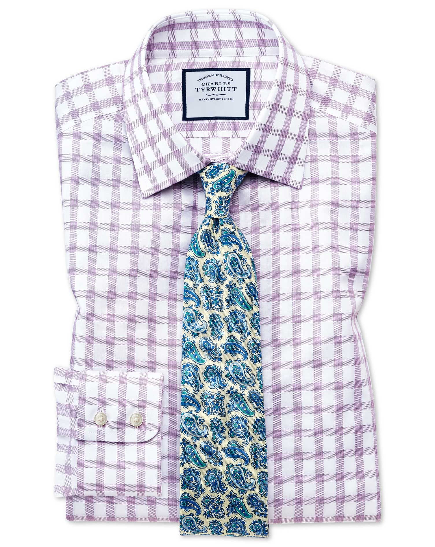 Extra Slim Fit Windowpane Check Purple Cotton Formal Shirt Single Cuff Size 14.5/33 by Charles Tyrwh